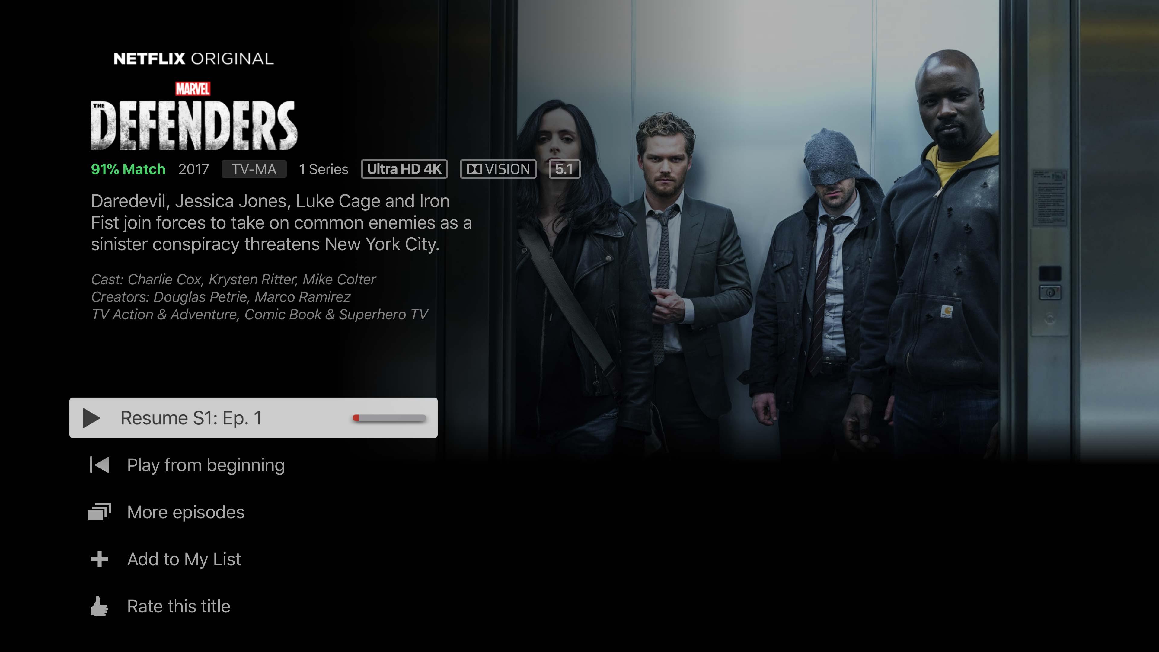 Apple TV 4K Defenders Netflix screenshot