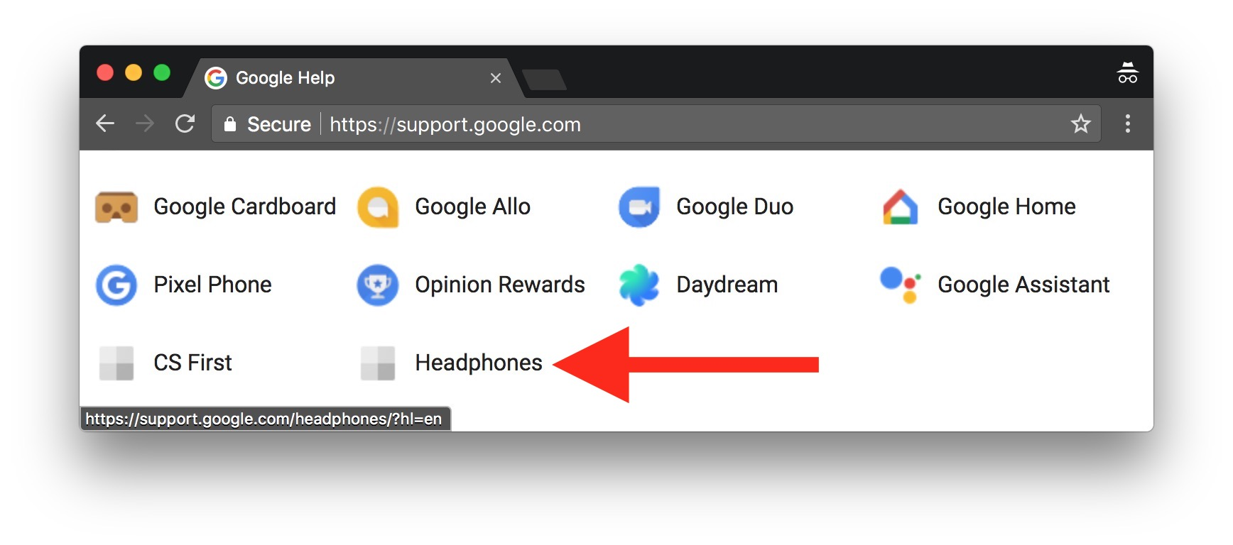 Google Help Support Page