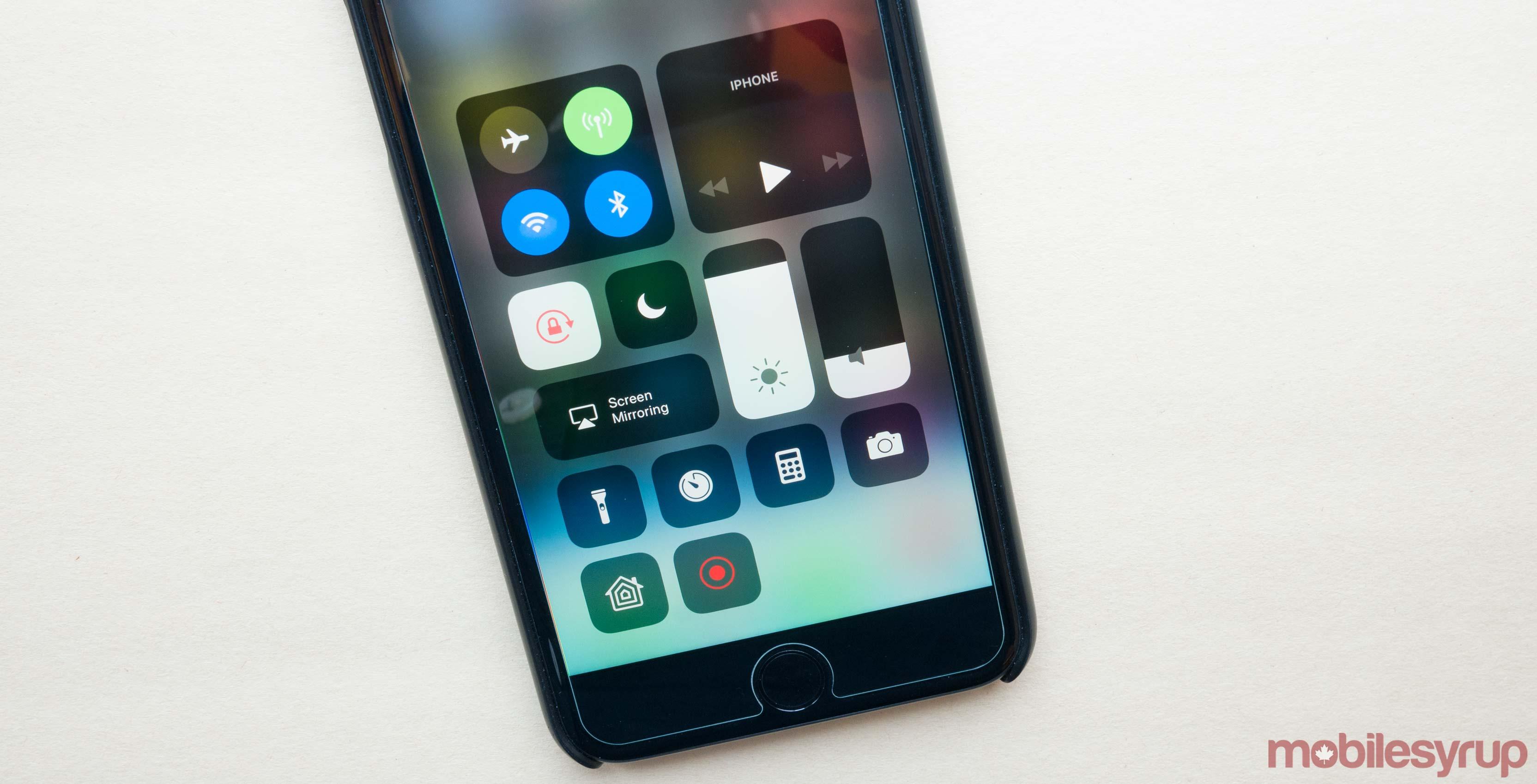 iOS 11 control centre on iPhone 7