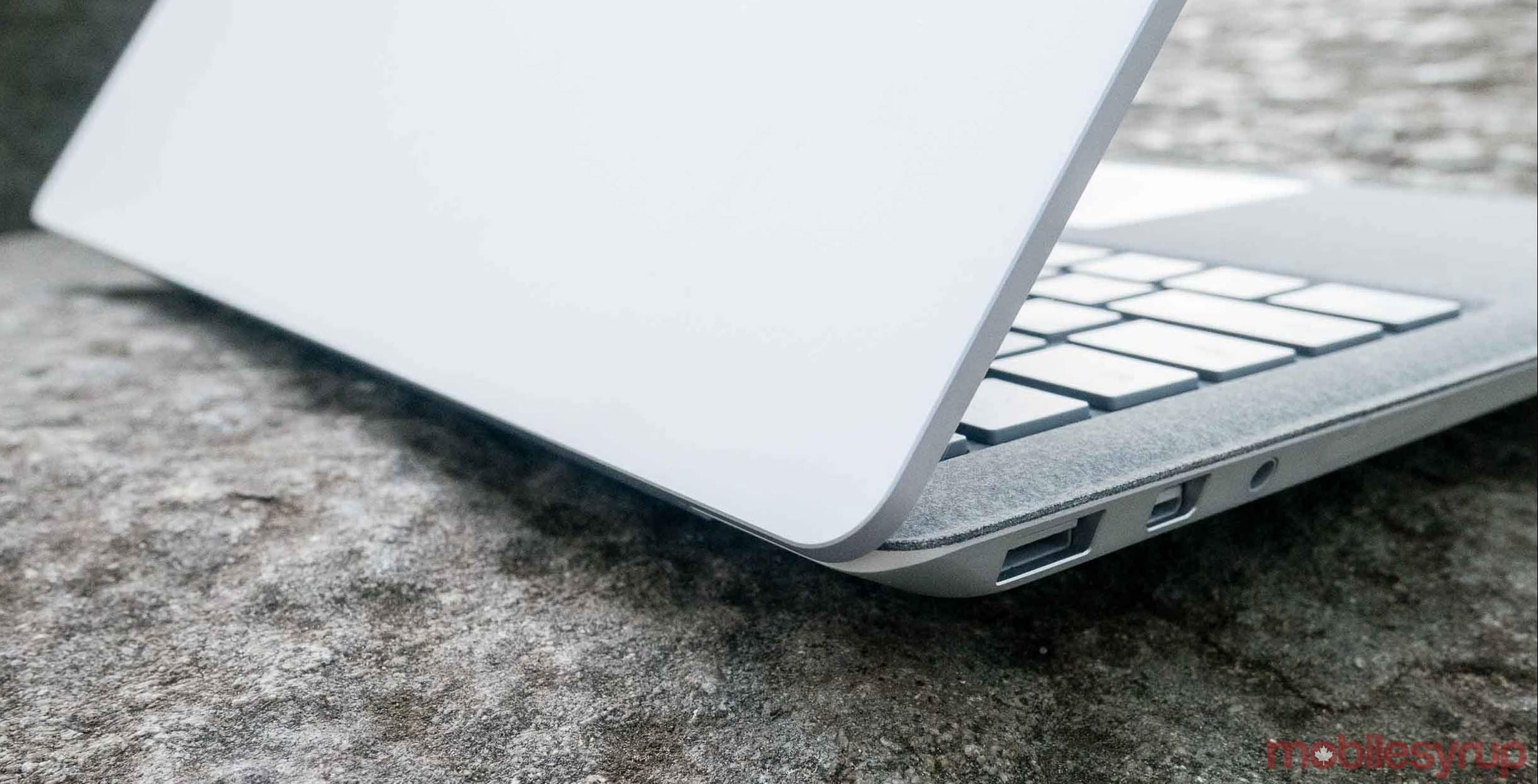 Photo of the Surface Laptop's hinge mechanism
