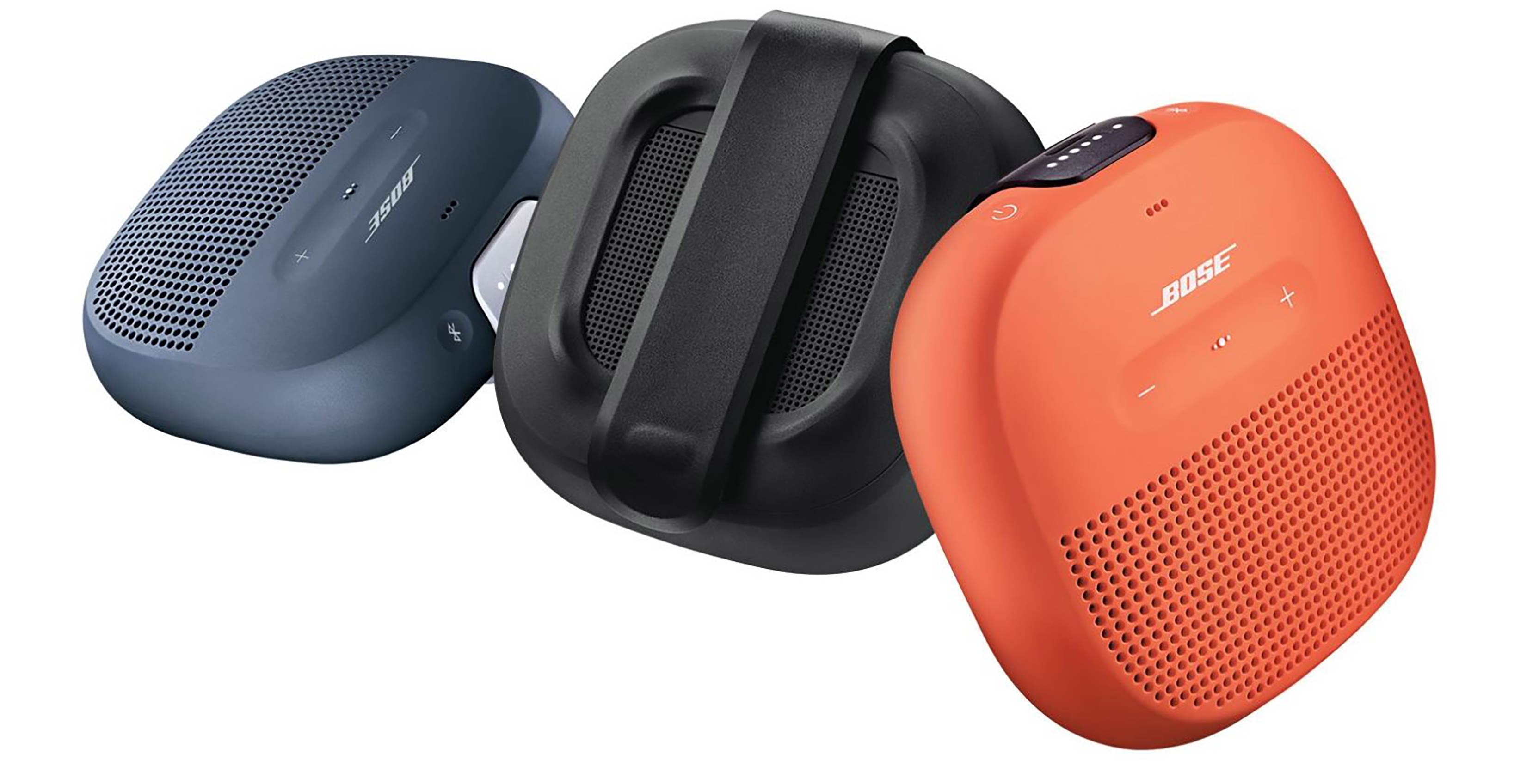 soundlink micro bluetooth speakers in three colours, black, blue and orange