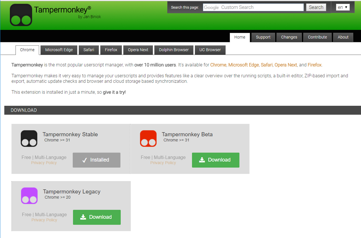 The Tampermonkey download site
