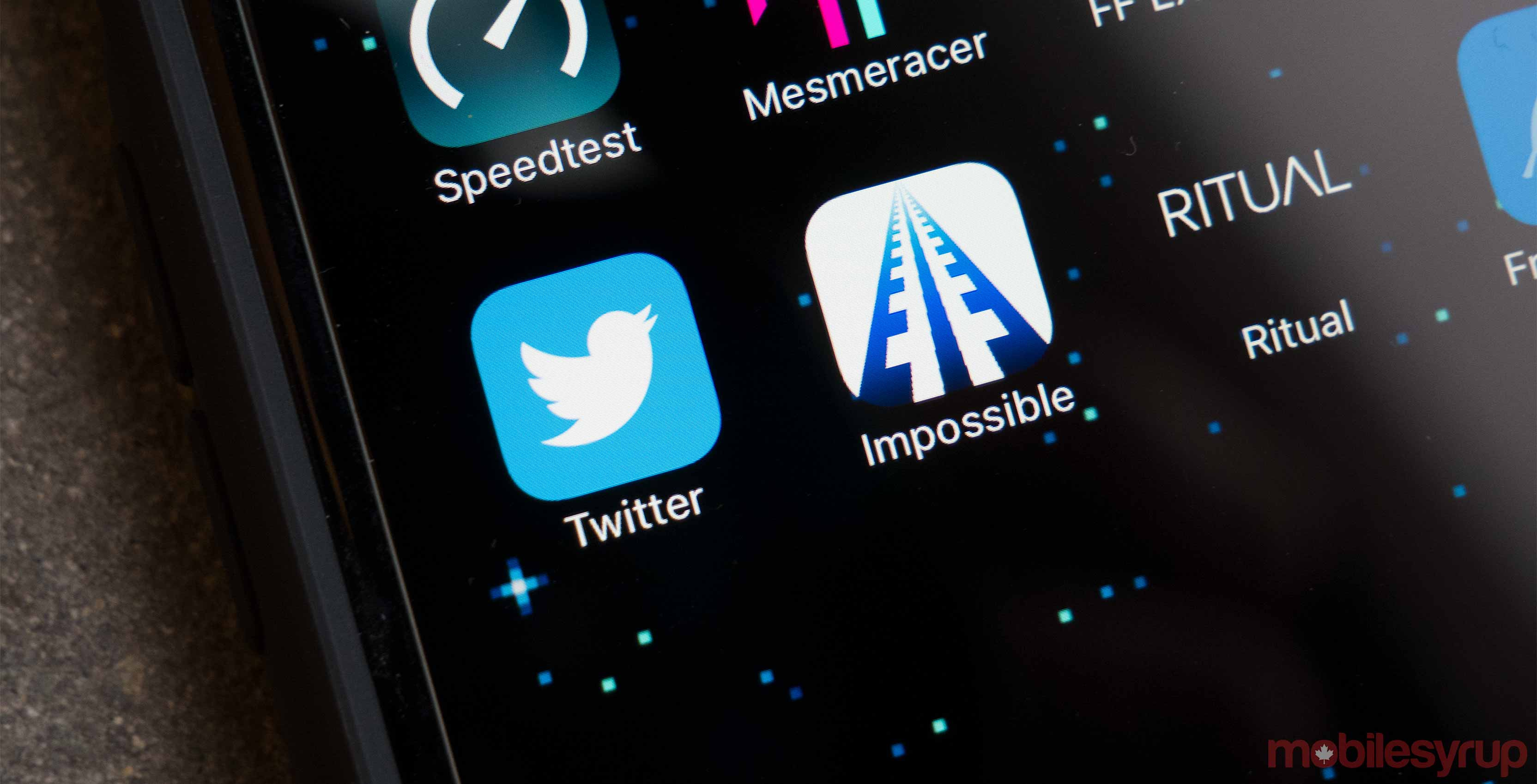 Twitter application on smartphone