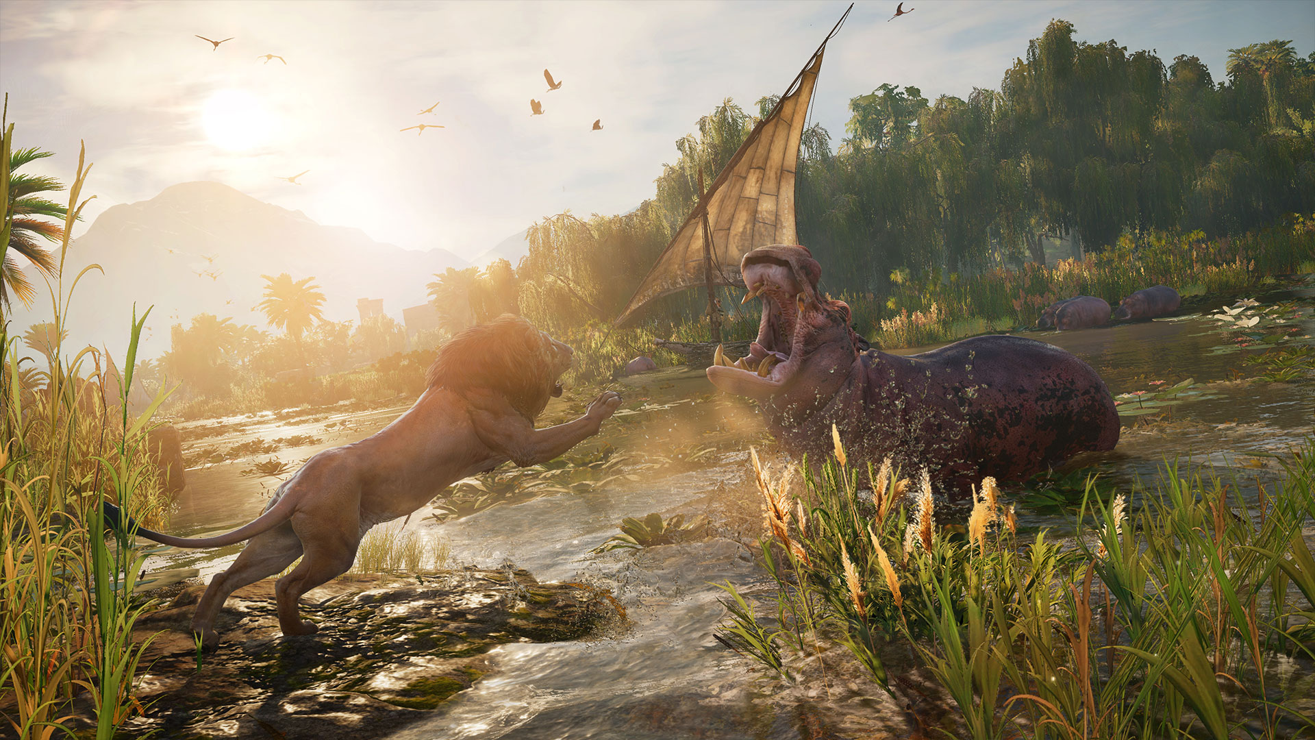 Assassin's Creed: Origins lion and hippo