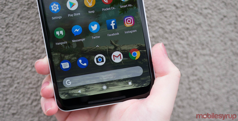 Google Pixel 2 in hand