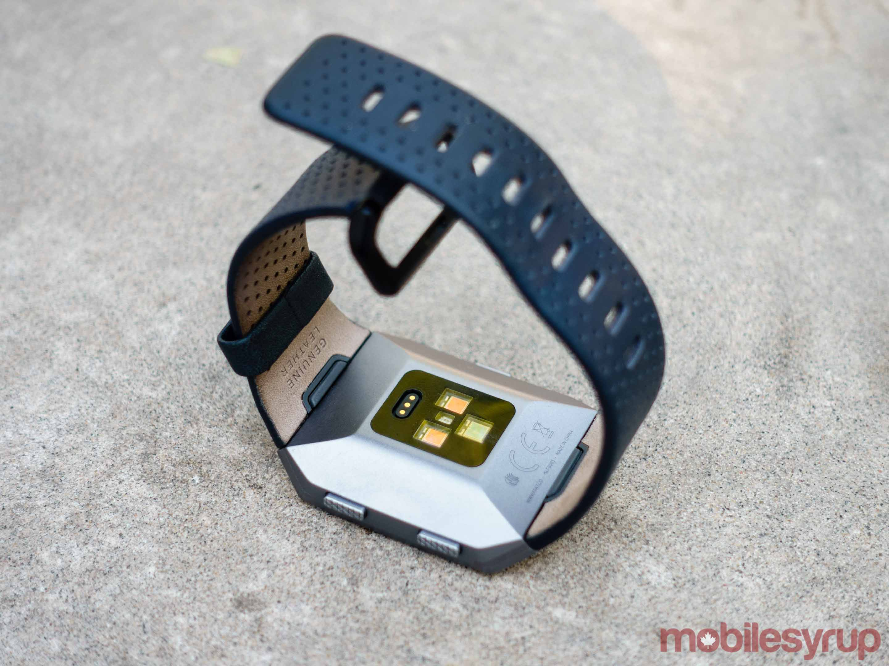 The back of Fitbit Ionic, which includes multiple heart-rate sensors