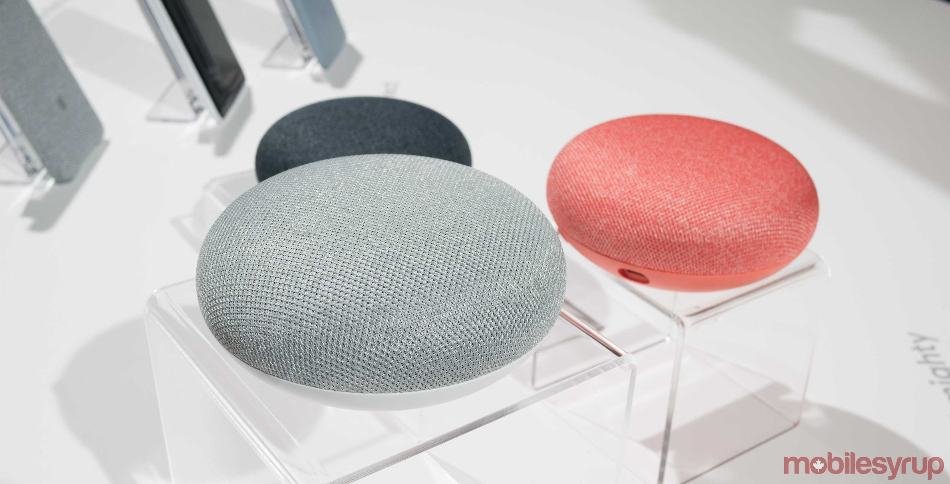 The three different colours of the Google Home Mini