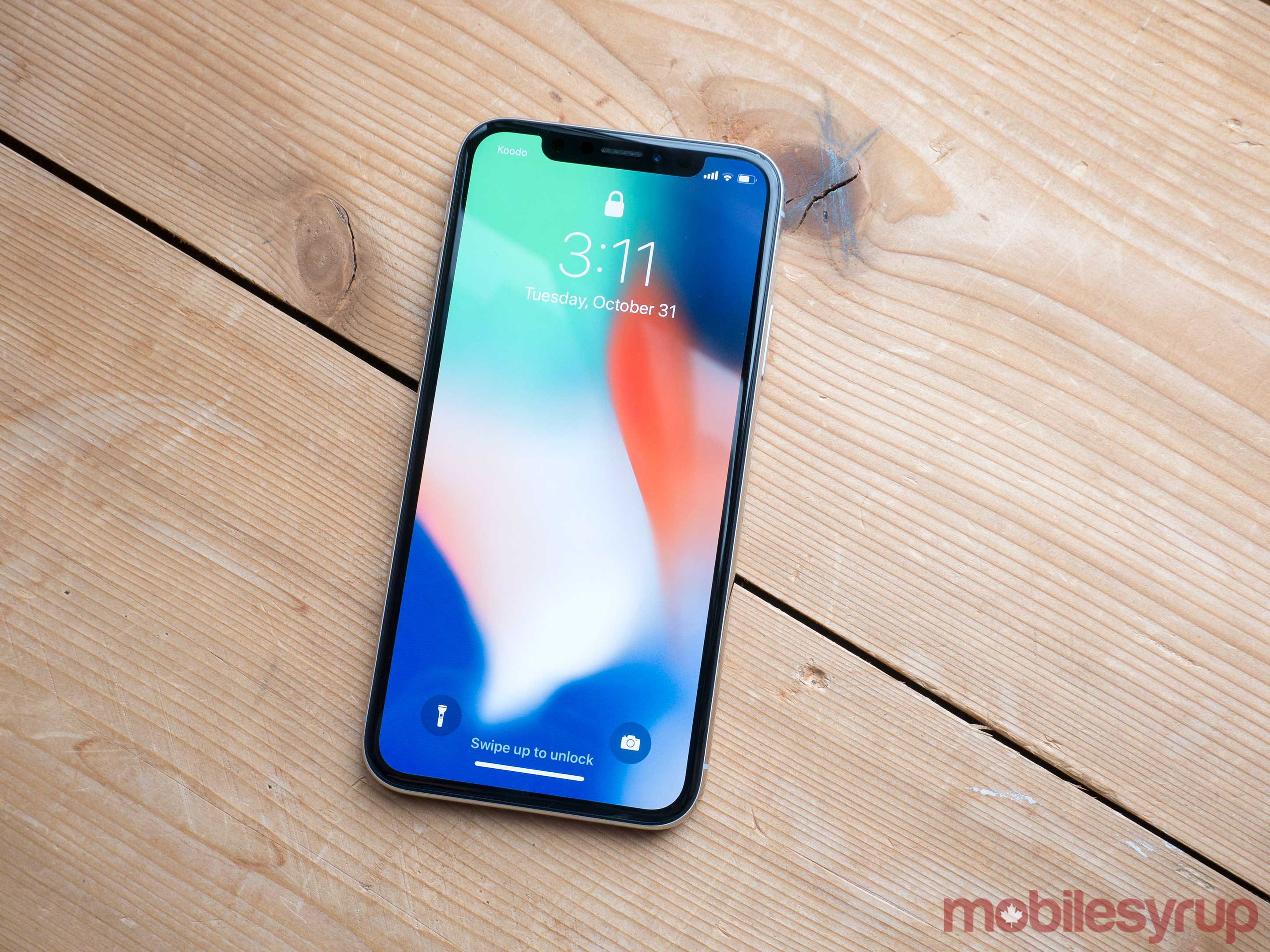 iPhone X on table