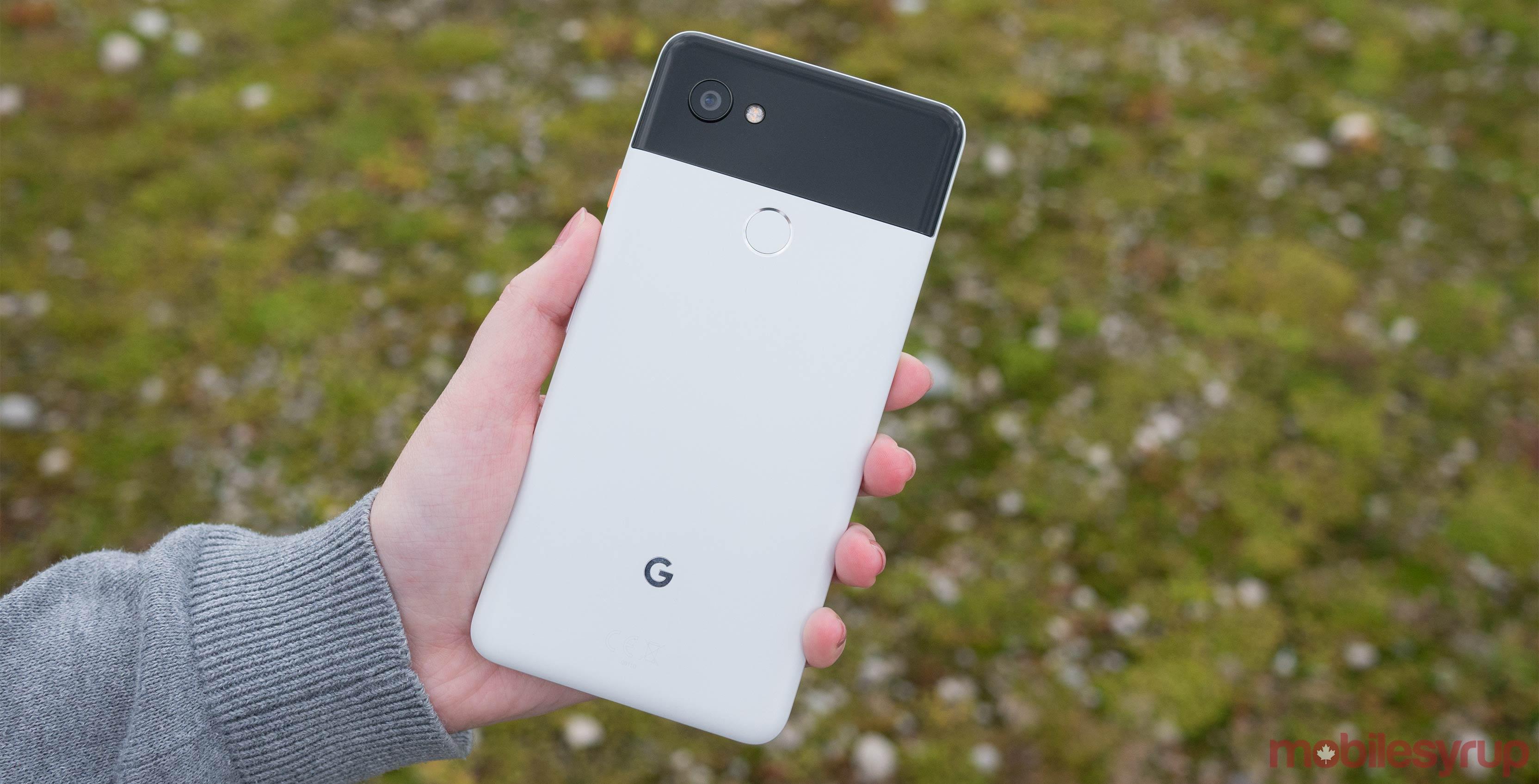 Google Pixel rear in hand