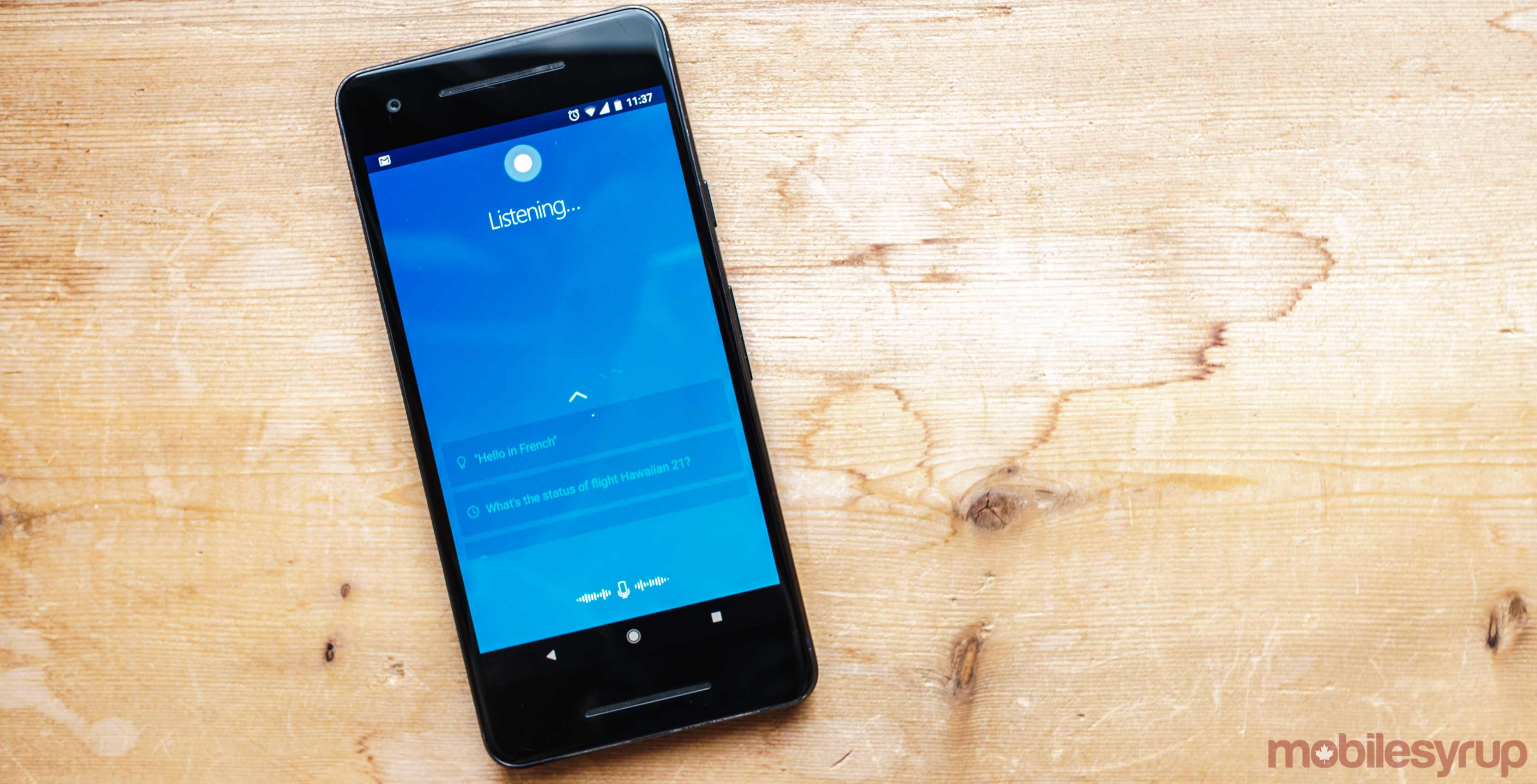 Cortana running on an Android smartphone