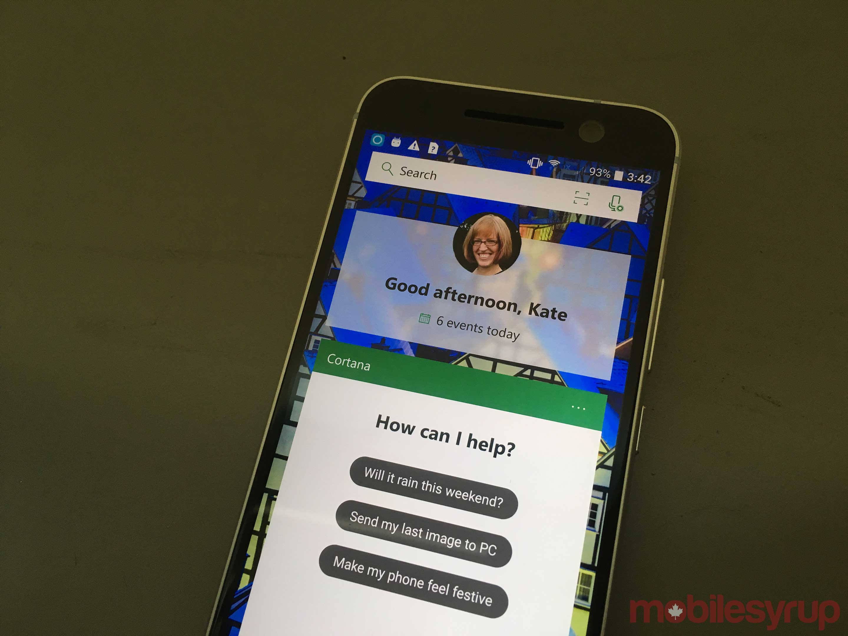 Cortana features on phone