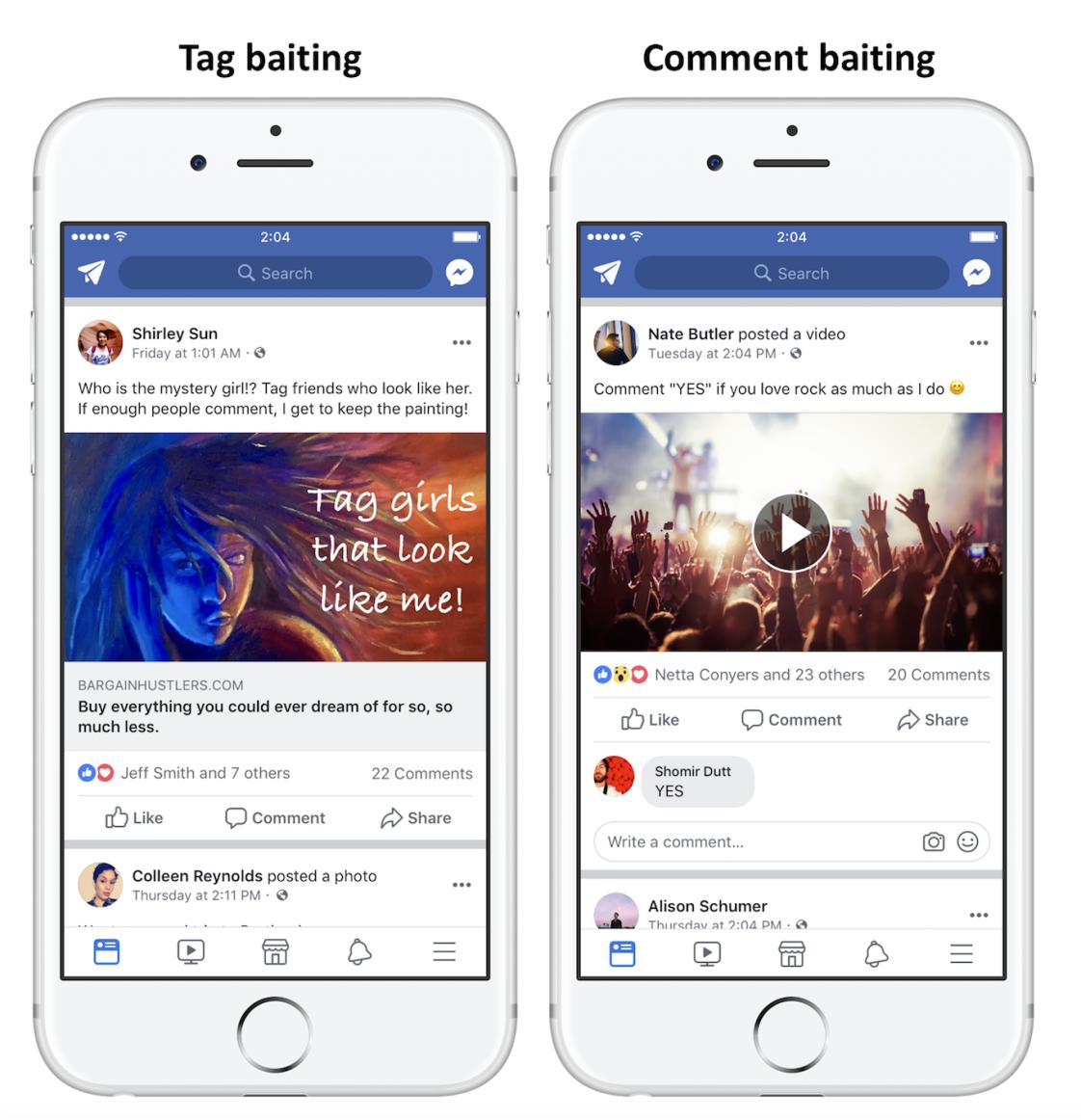 Facebook engagement bait examples