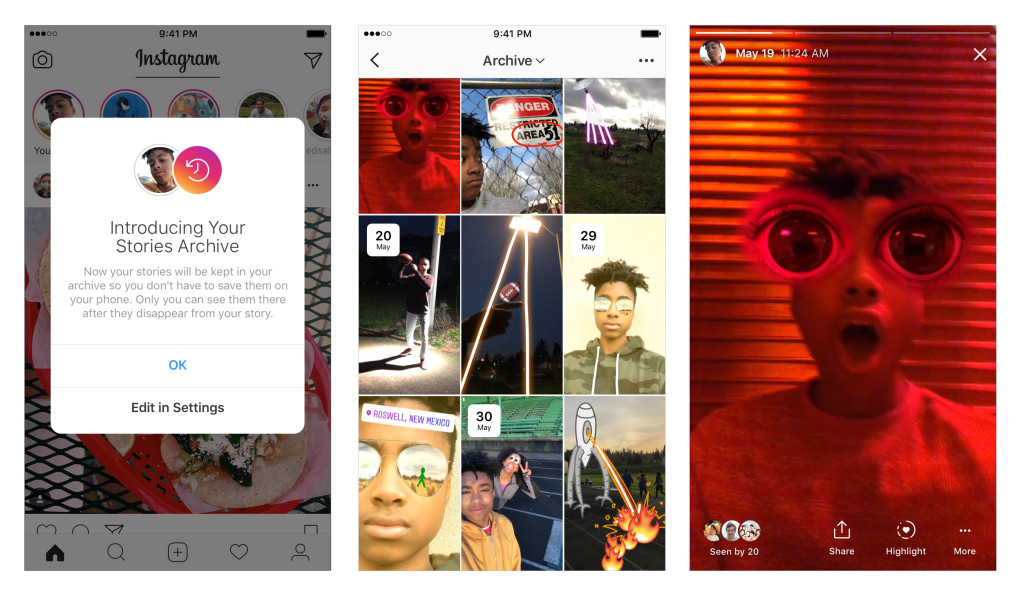 Instagram Stories Archive examples
