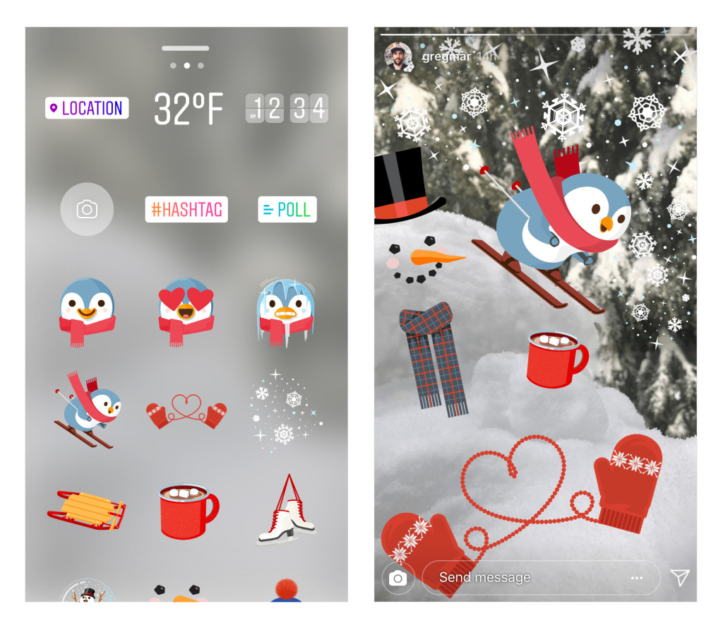 Instagram's new holiday-themed stickers