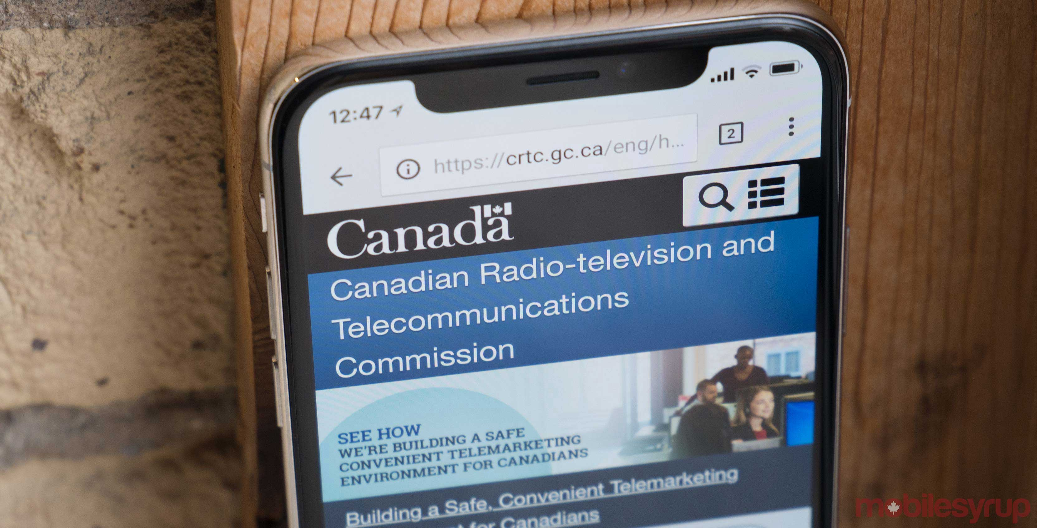CRTC website on phone