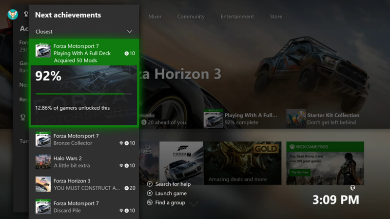 Xbox One achievement update