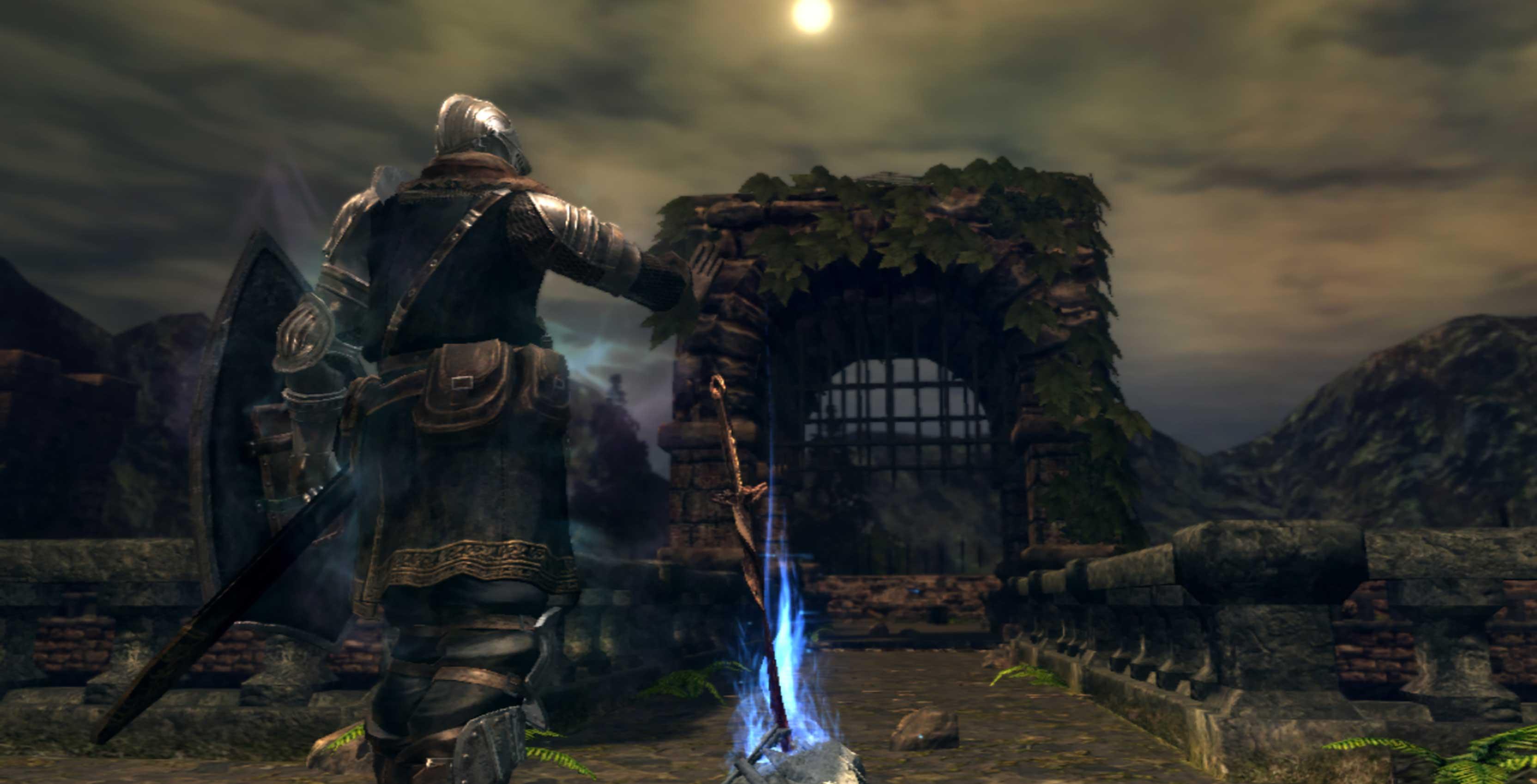 Dark Souls Knight at bonfire