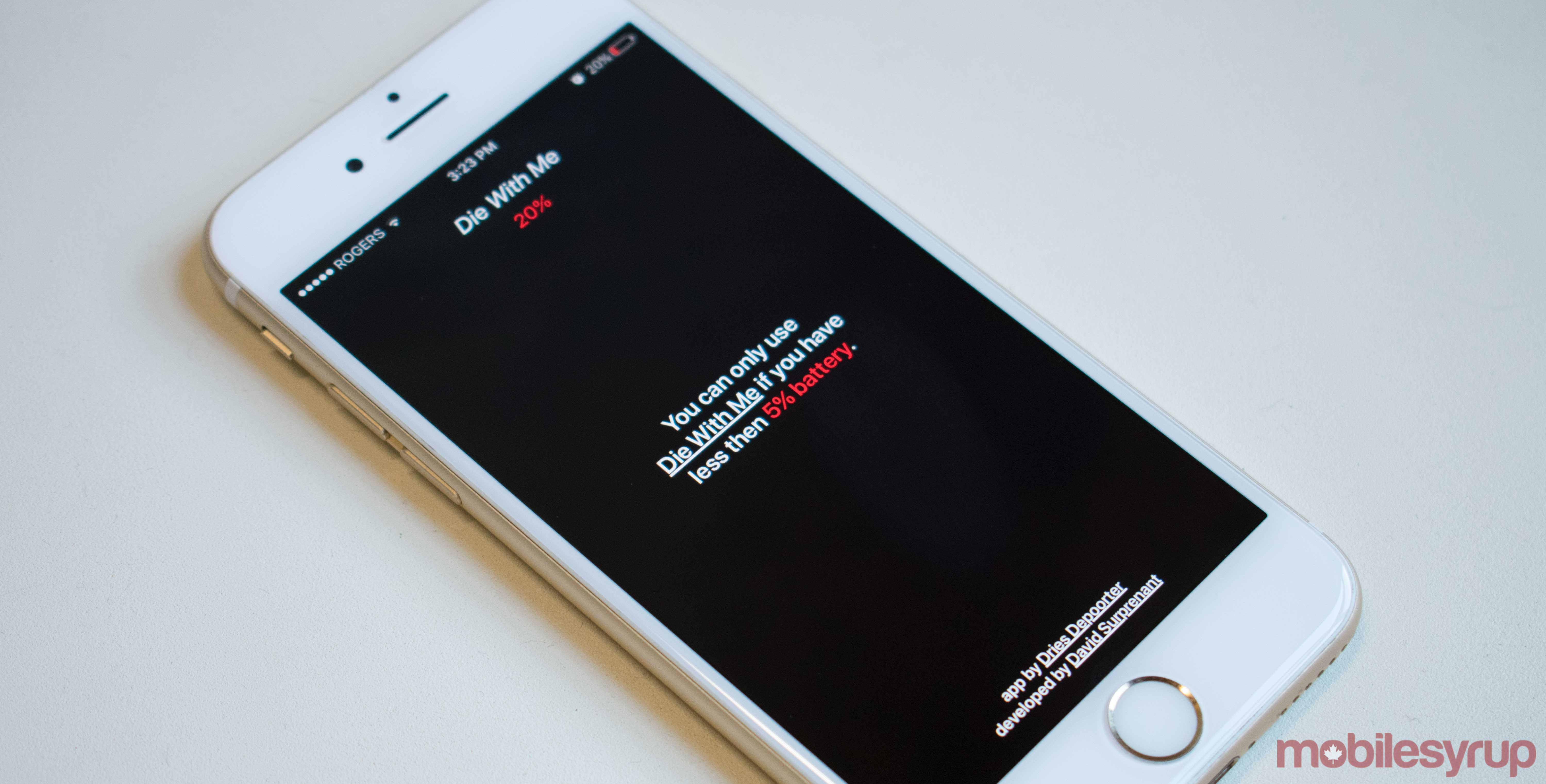 Die With Me's splash screen, denying entry as the phone's battery is not below 5 percent.