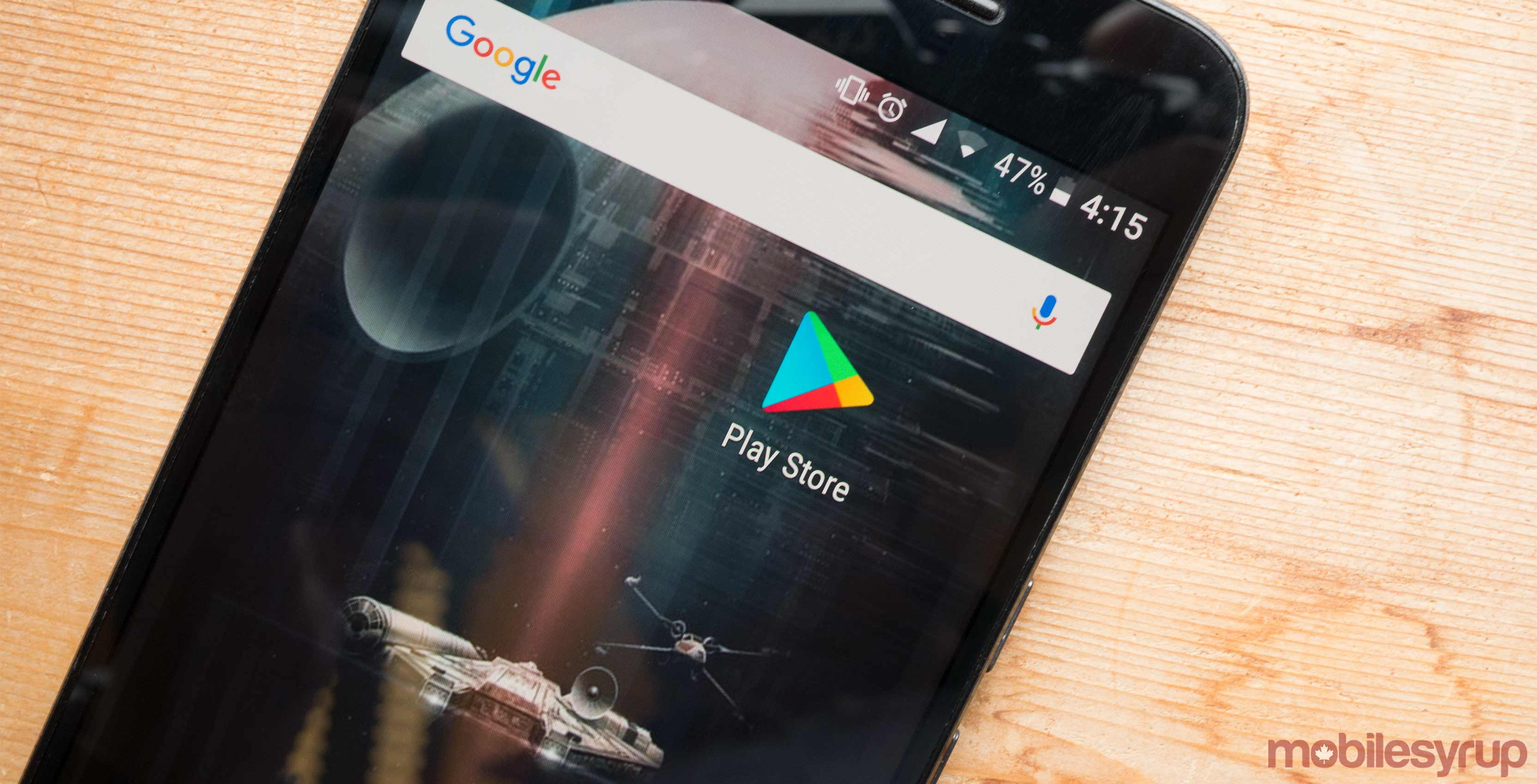 Google Play Store icon on phone