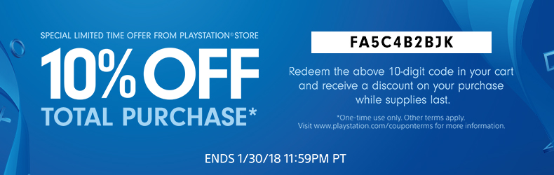 A coupon for 10% off on the PlayStation store