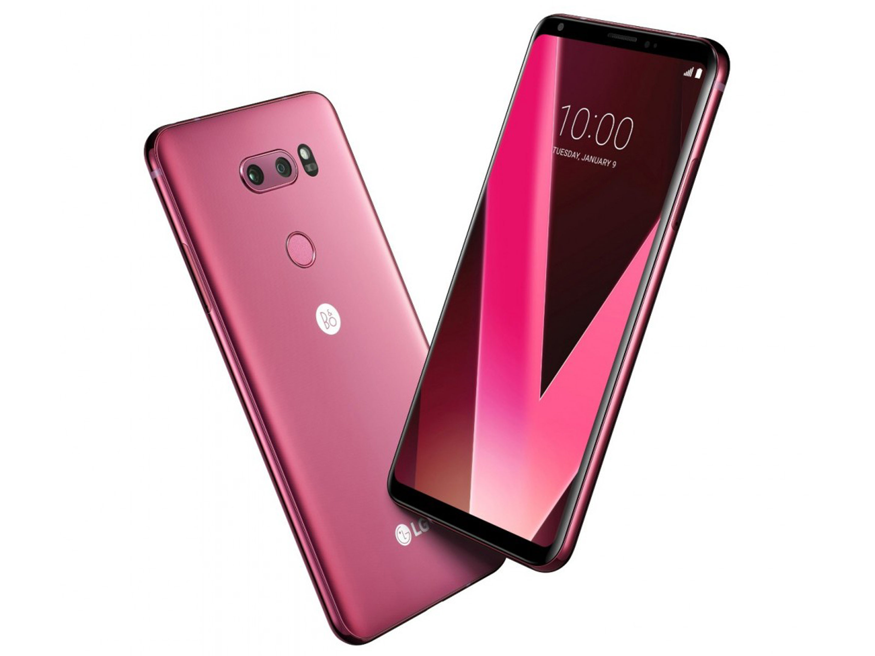 LG V30 in raspberry rose, front and back