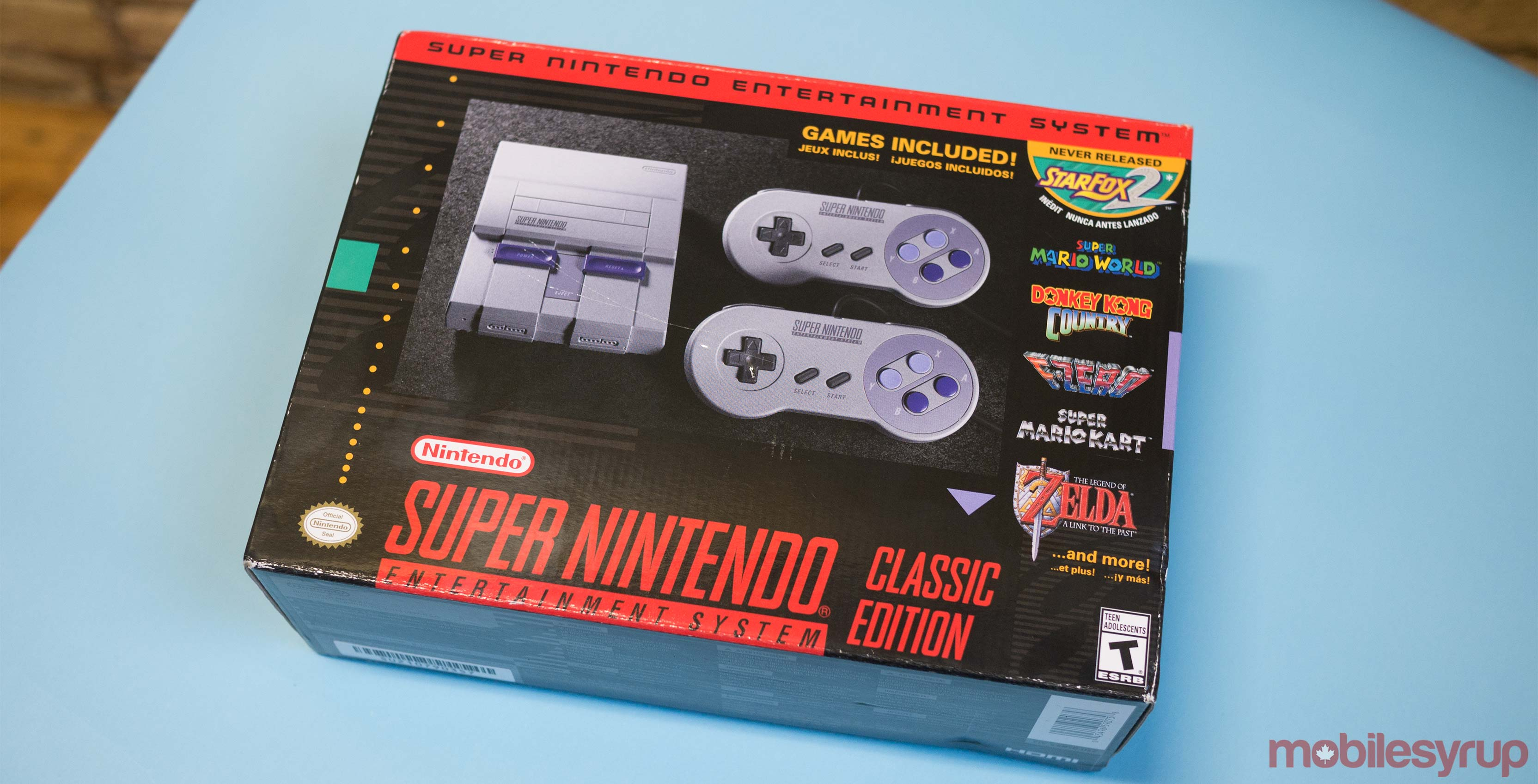 SNES Classic in box on table