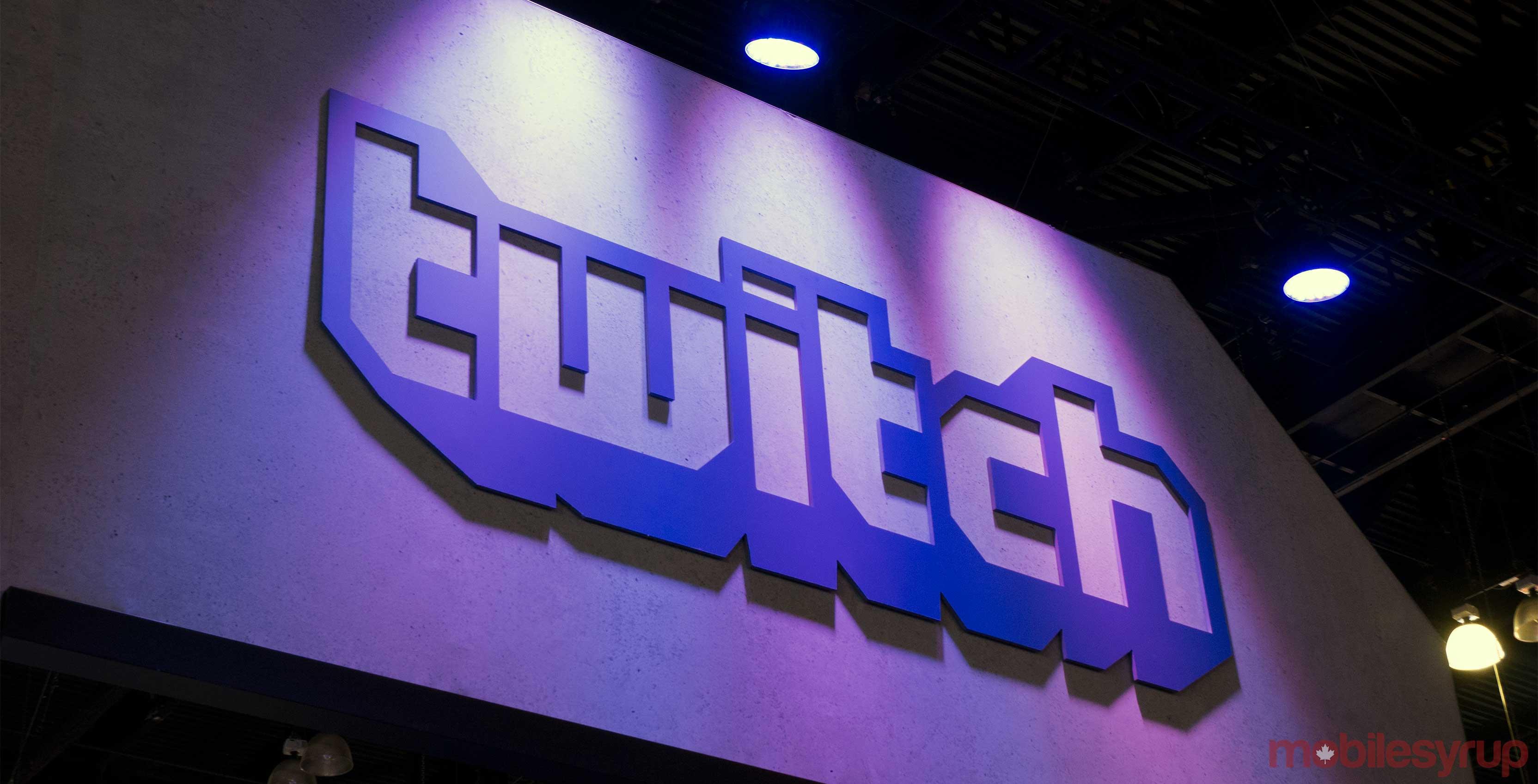 Twitch logo on wall