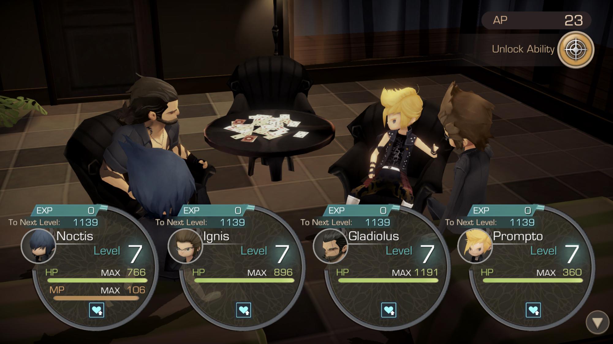 Final Fantasy XV Pocket Edition party level up