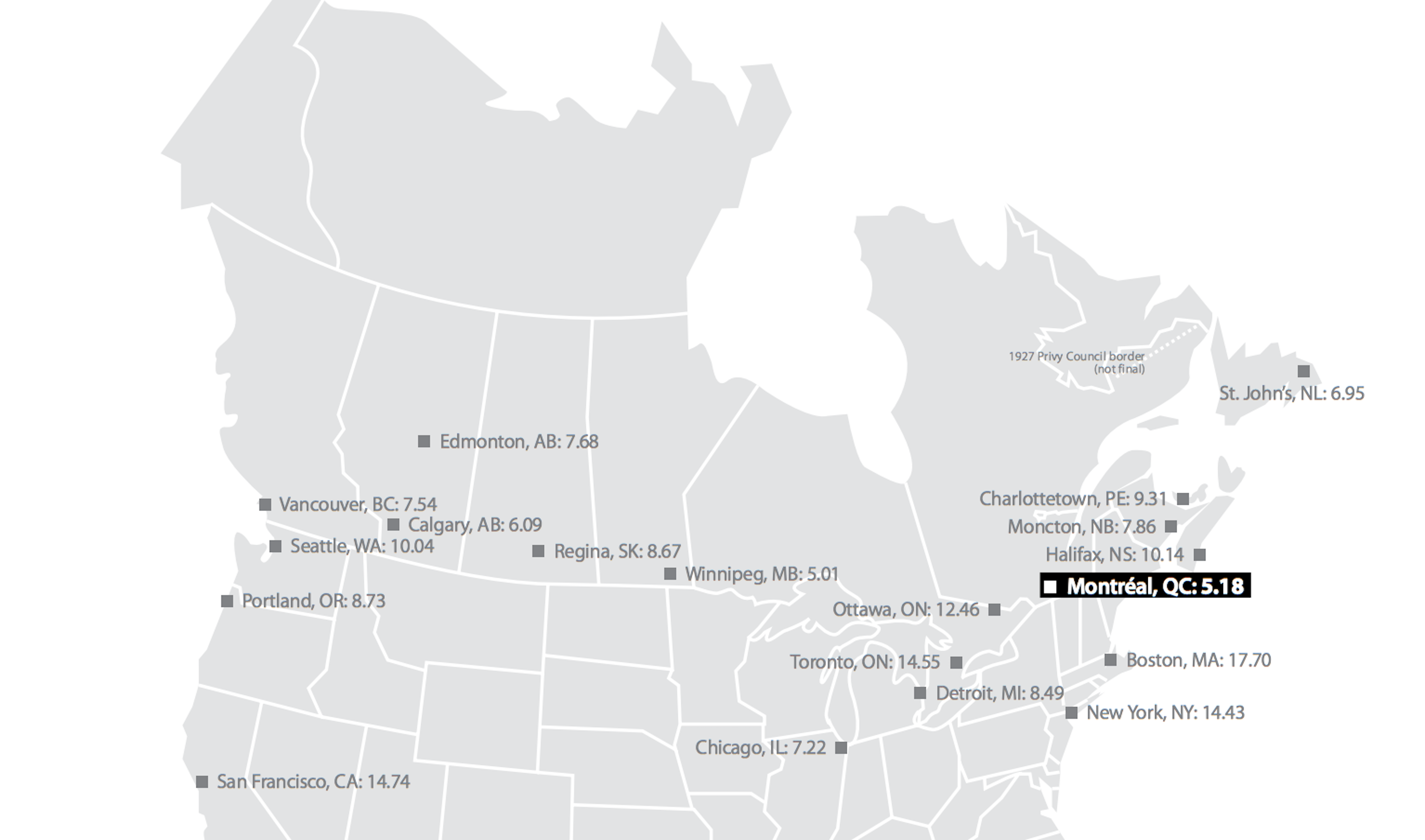 A Comparison of large-power energy prices in North America via Hydro Quebec