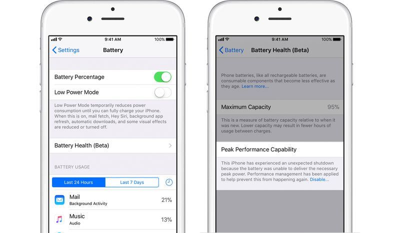 iOS 11.3 battery settings