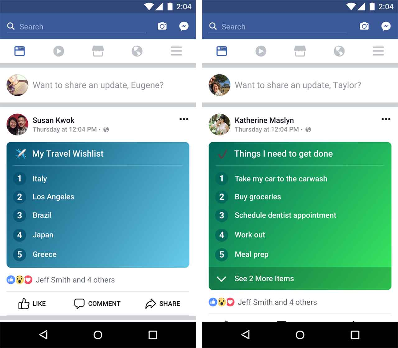 Facebook Lists examples
