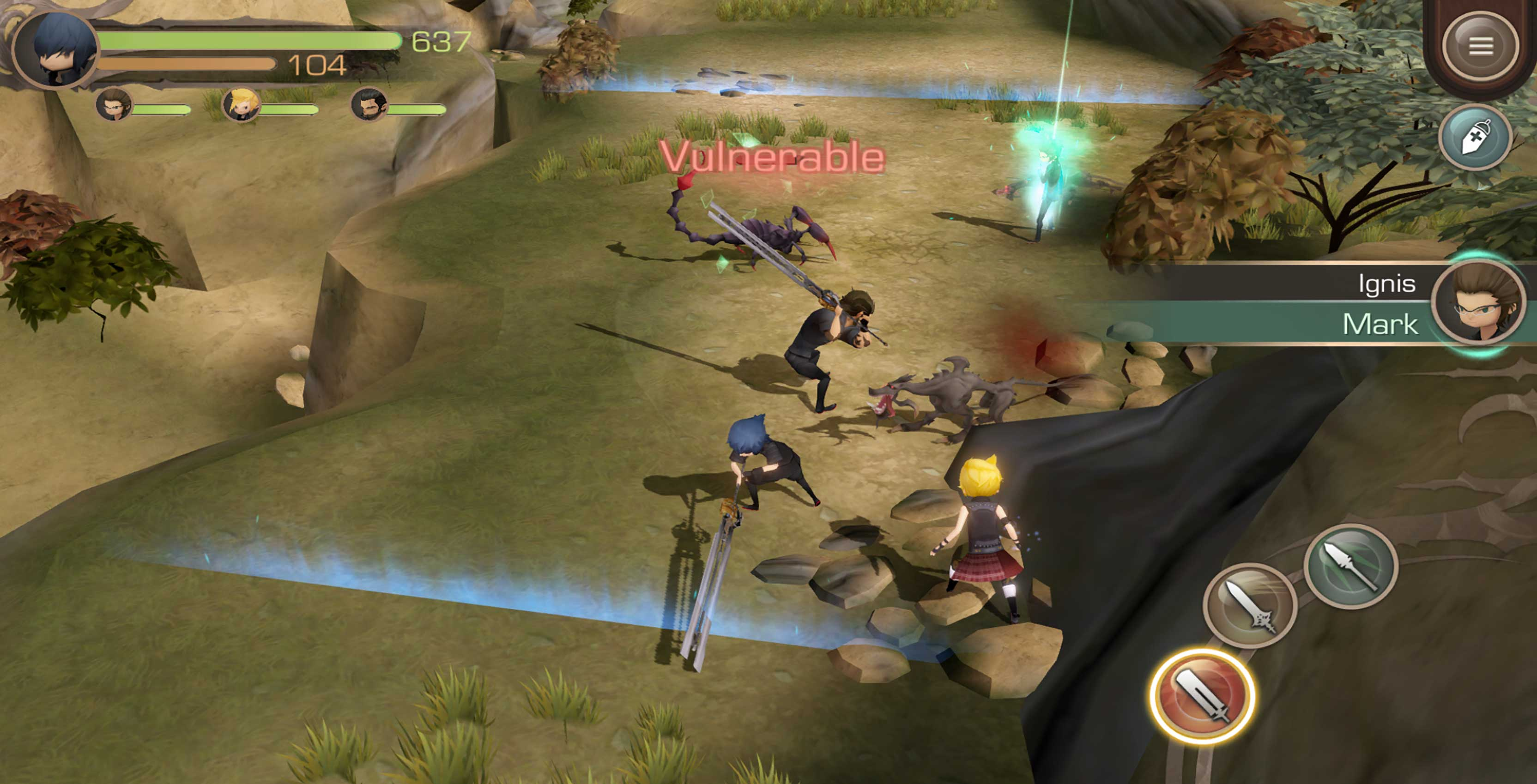 Final Fantasy XV Pocket Edition combat