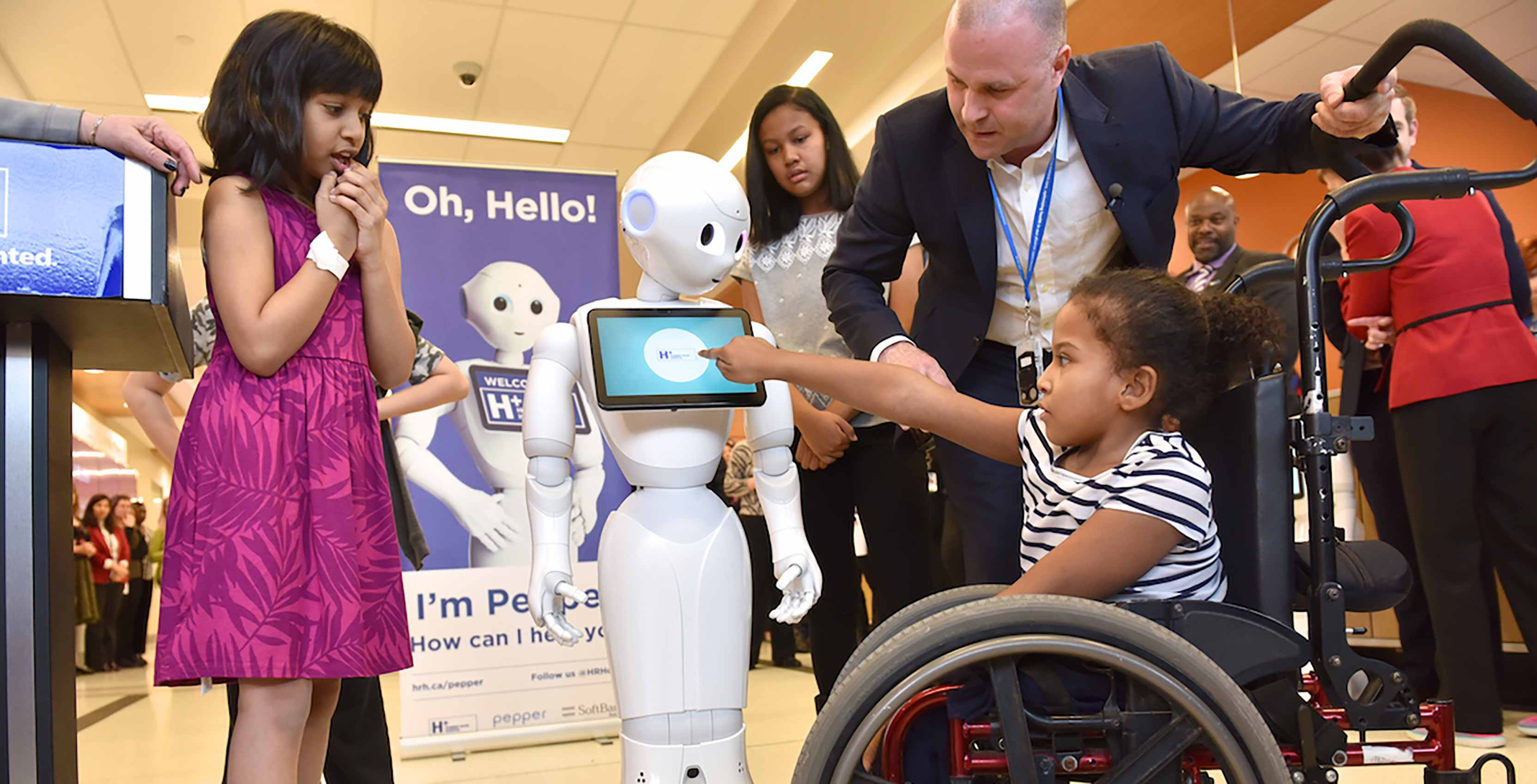 Pepper the robot with kids