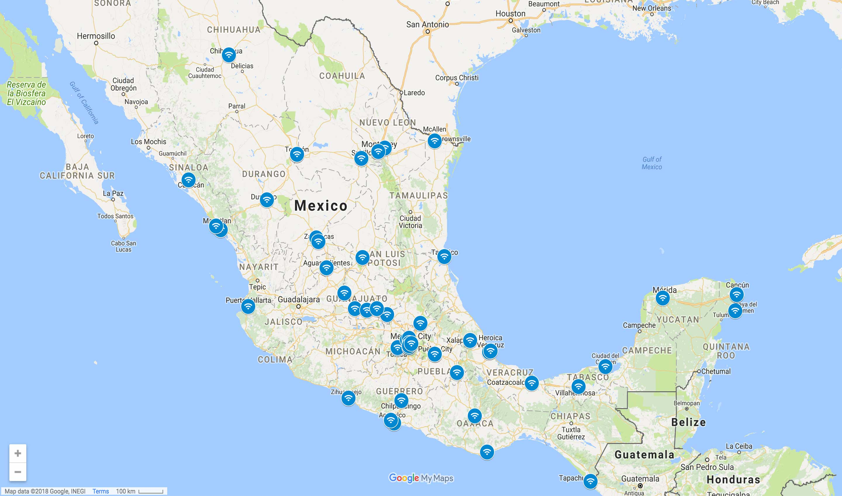 All of the locations of the Google Station's Wi-Fi zones in Mexico