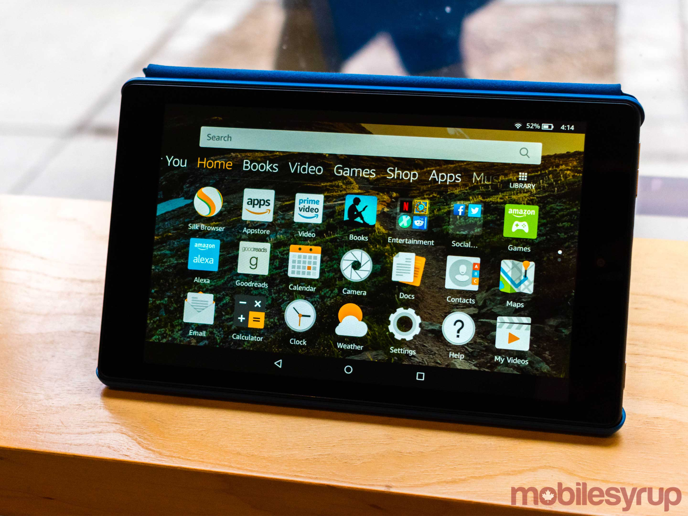 Amazon tablet showing the device's home screen.