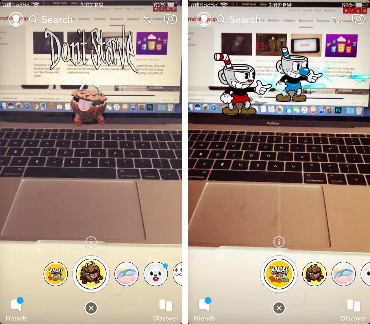 Cuphead and Don't Starve Snapchat Lenses