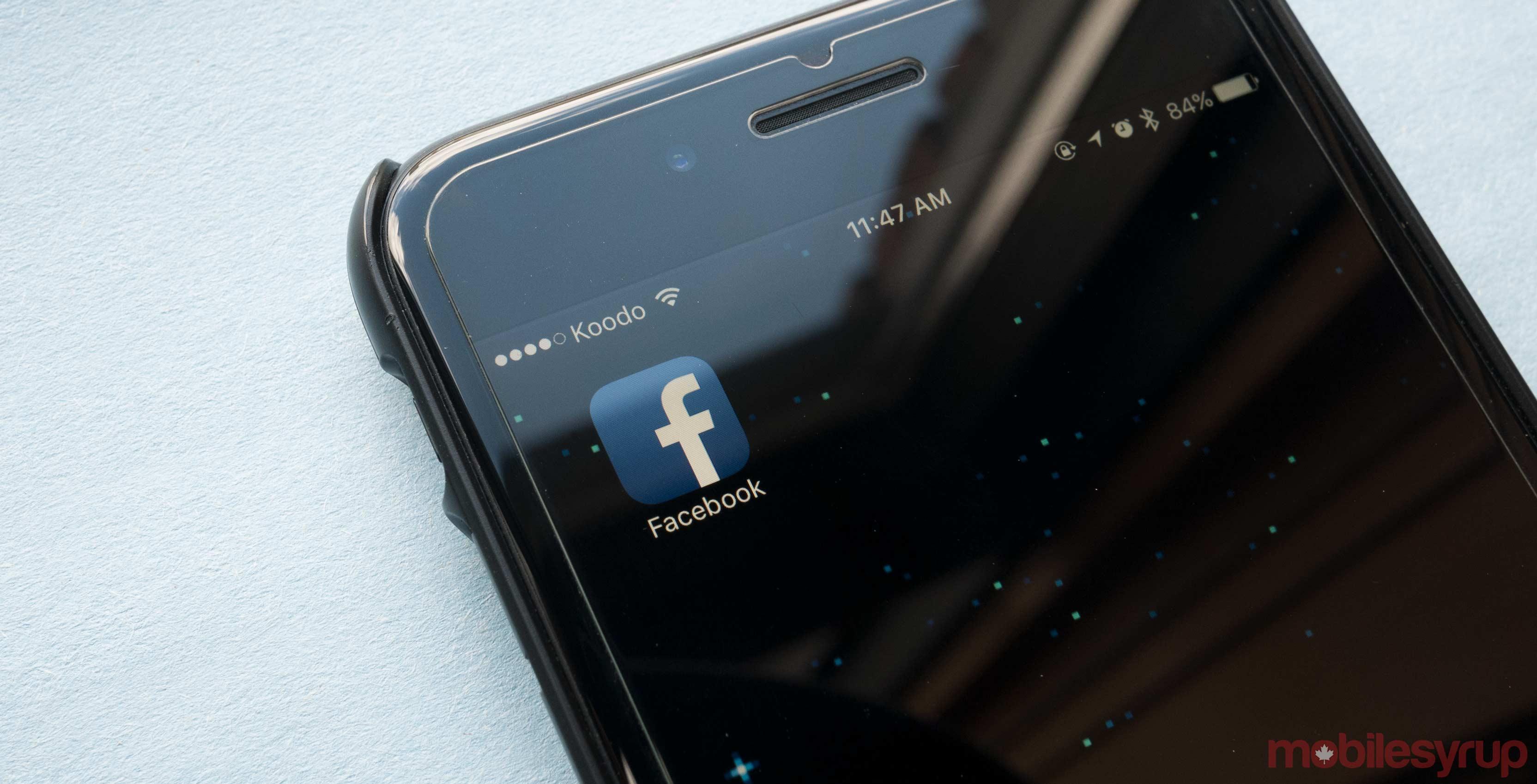 Facebook app on iPhone