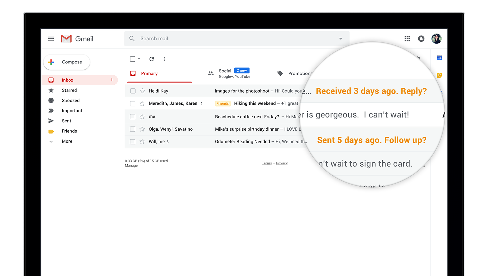 gmail's new nudge feature