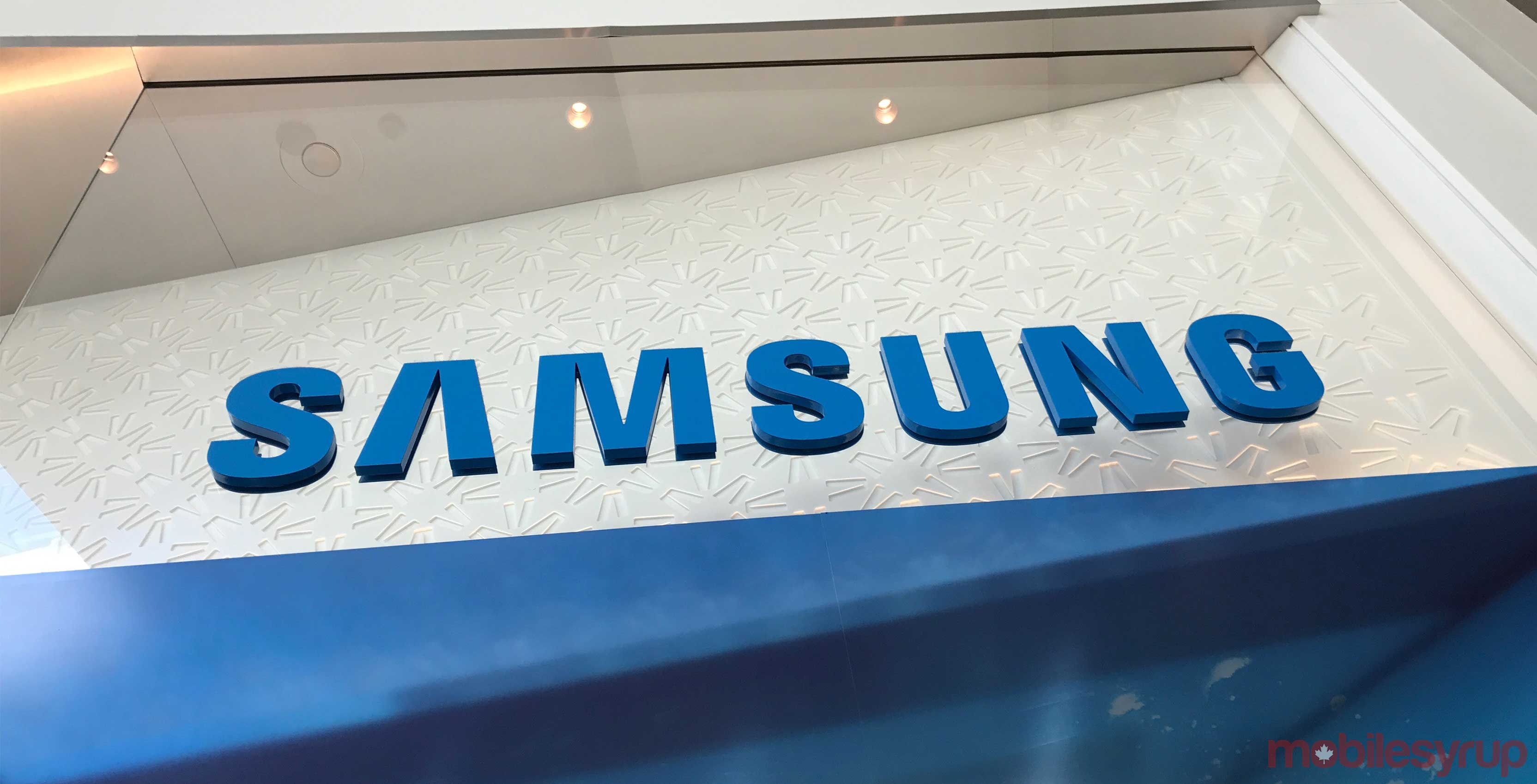 Samsung logo on wall