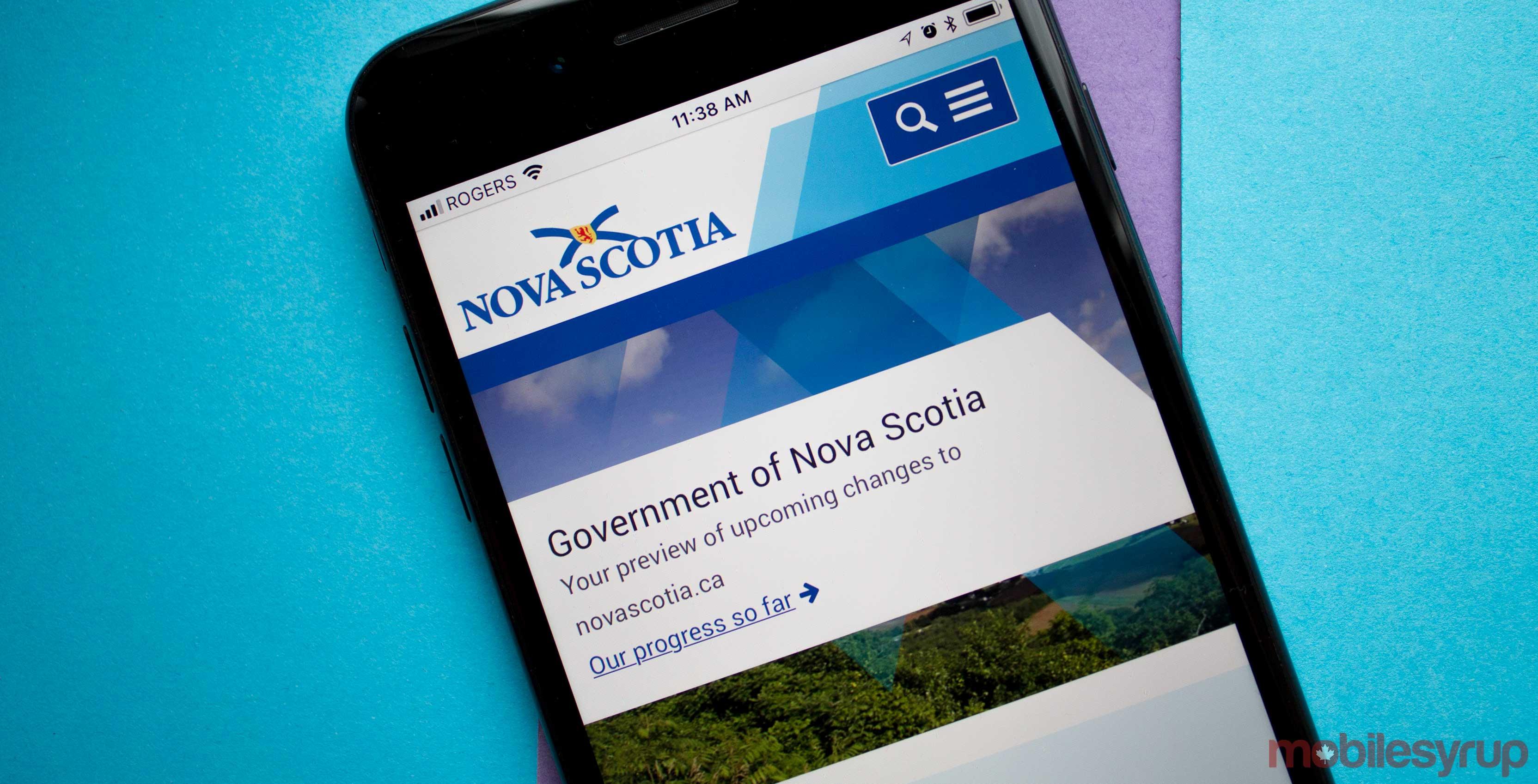 a photo of the government of nova scotia's website