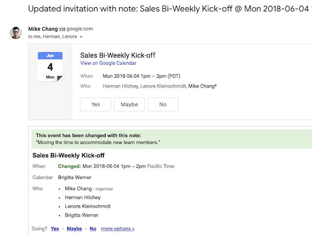 Google invitation update