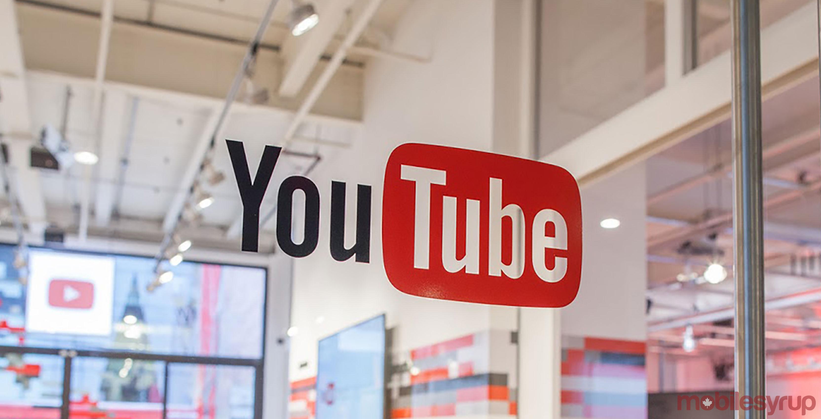 YouTube logo on window