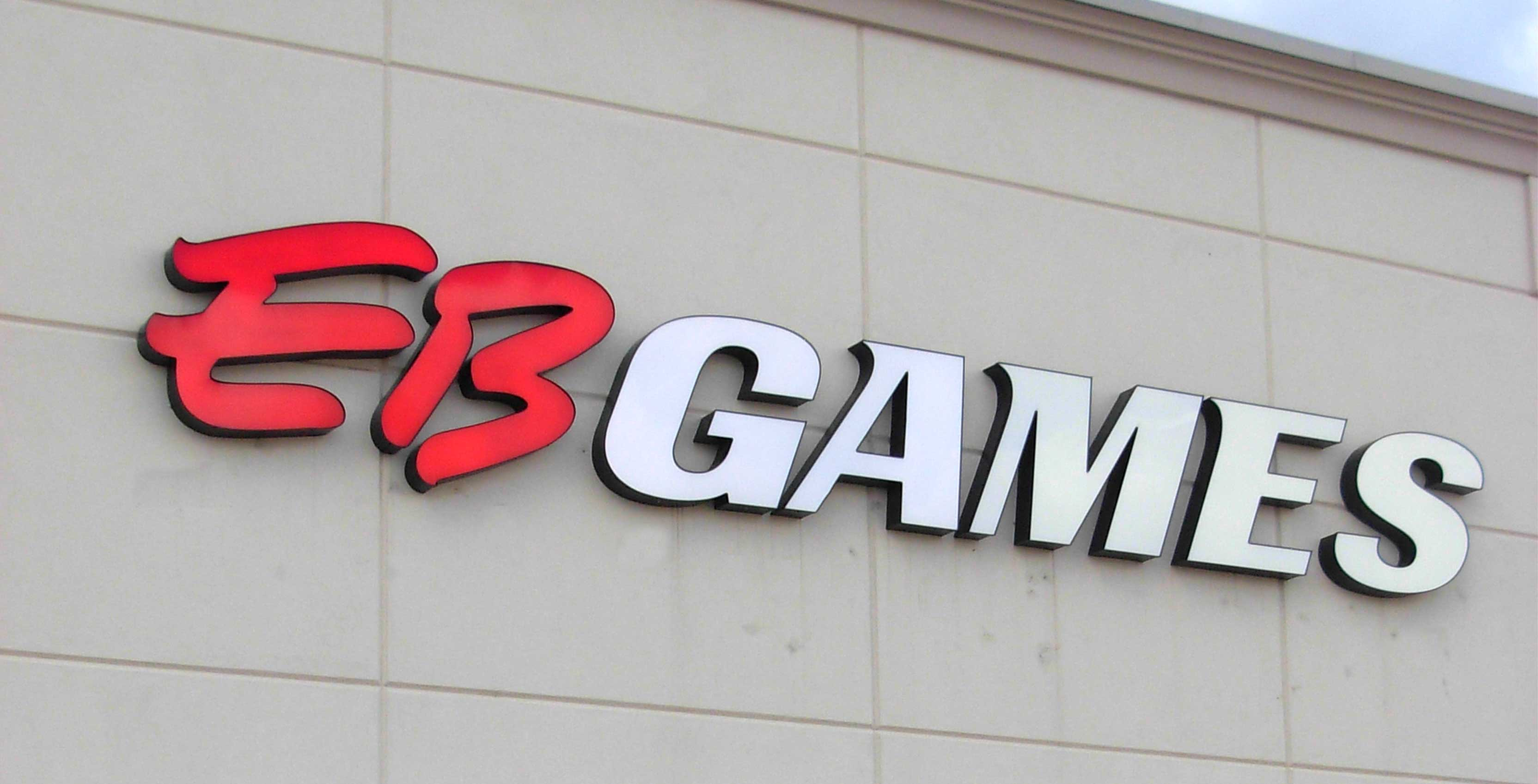 EB Games logo on building