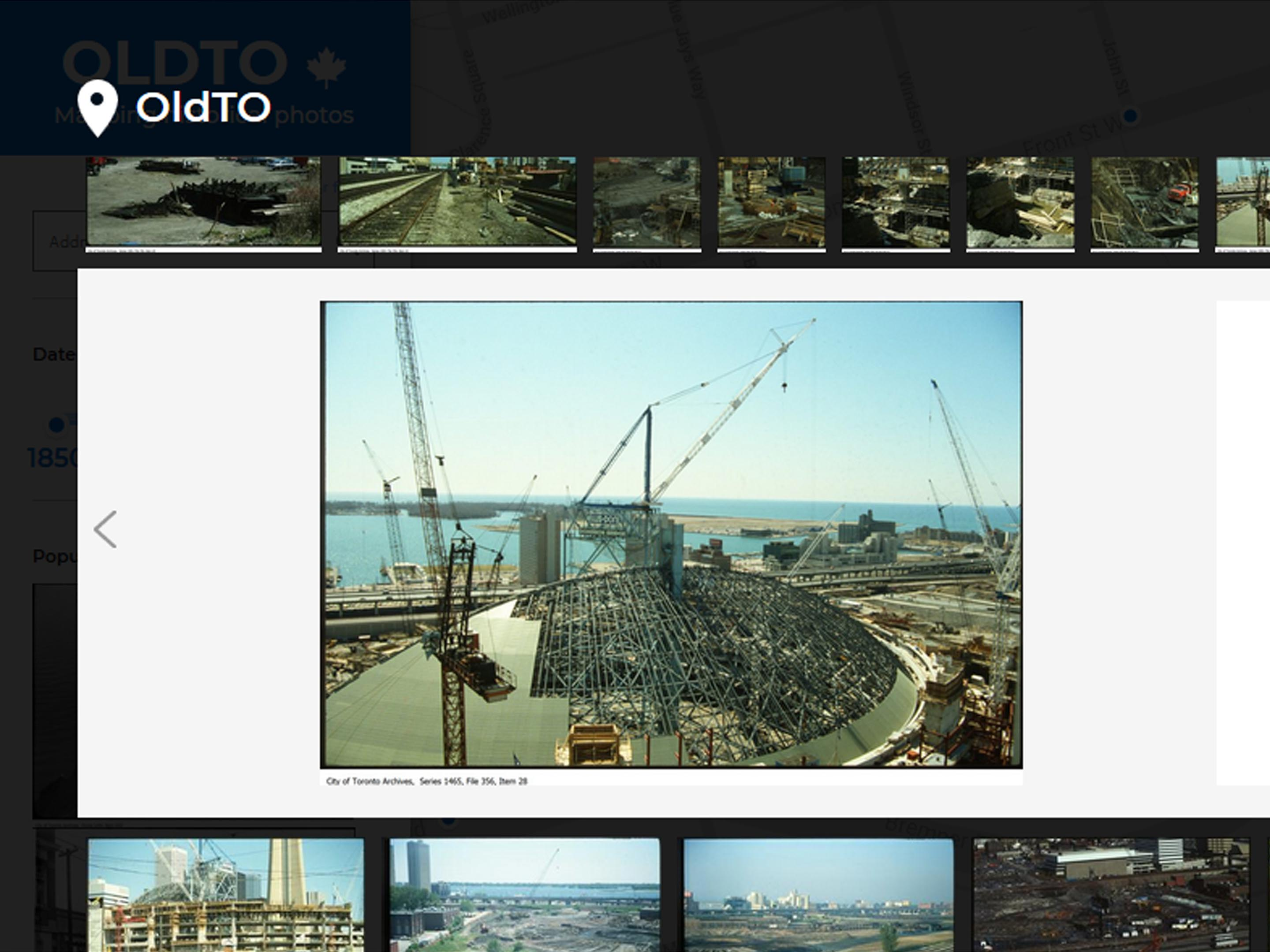 Screenshot of Skydome construction from Old Toronto collection