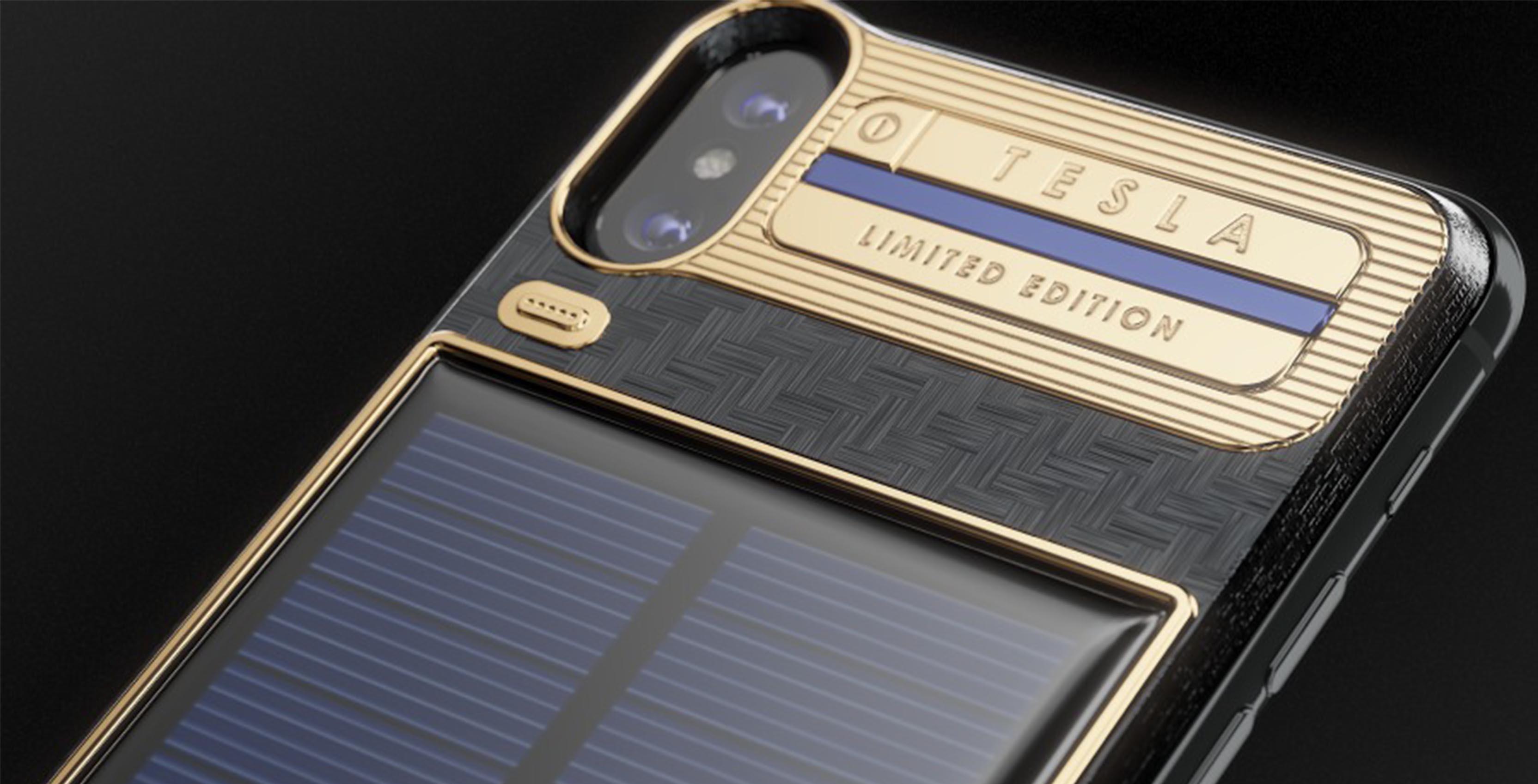 Close up of iPhone X Tesla