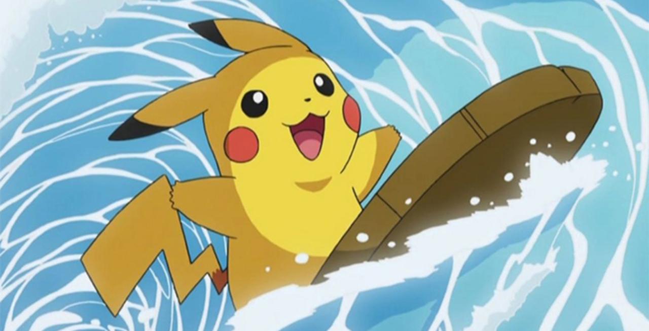 Pokemon Pikachu on surfboard