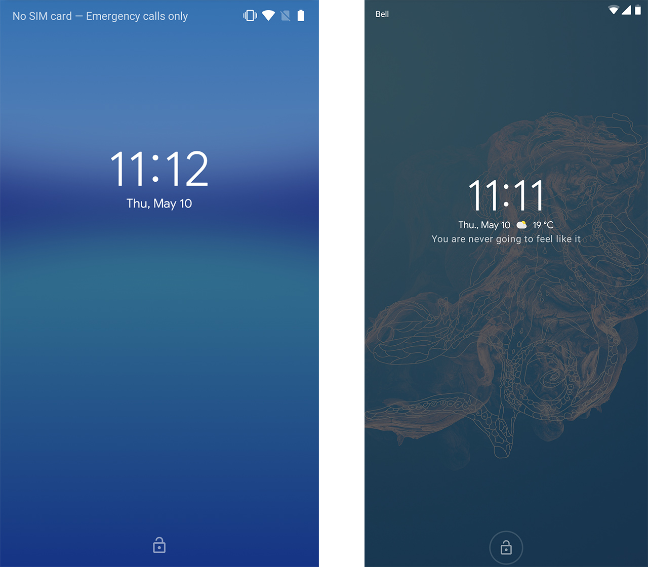 Screenshot of lock screen without weather (left) and with weather (right)