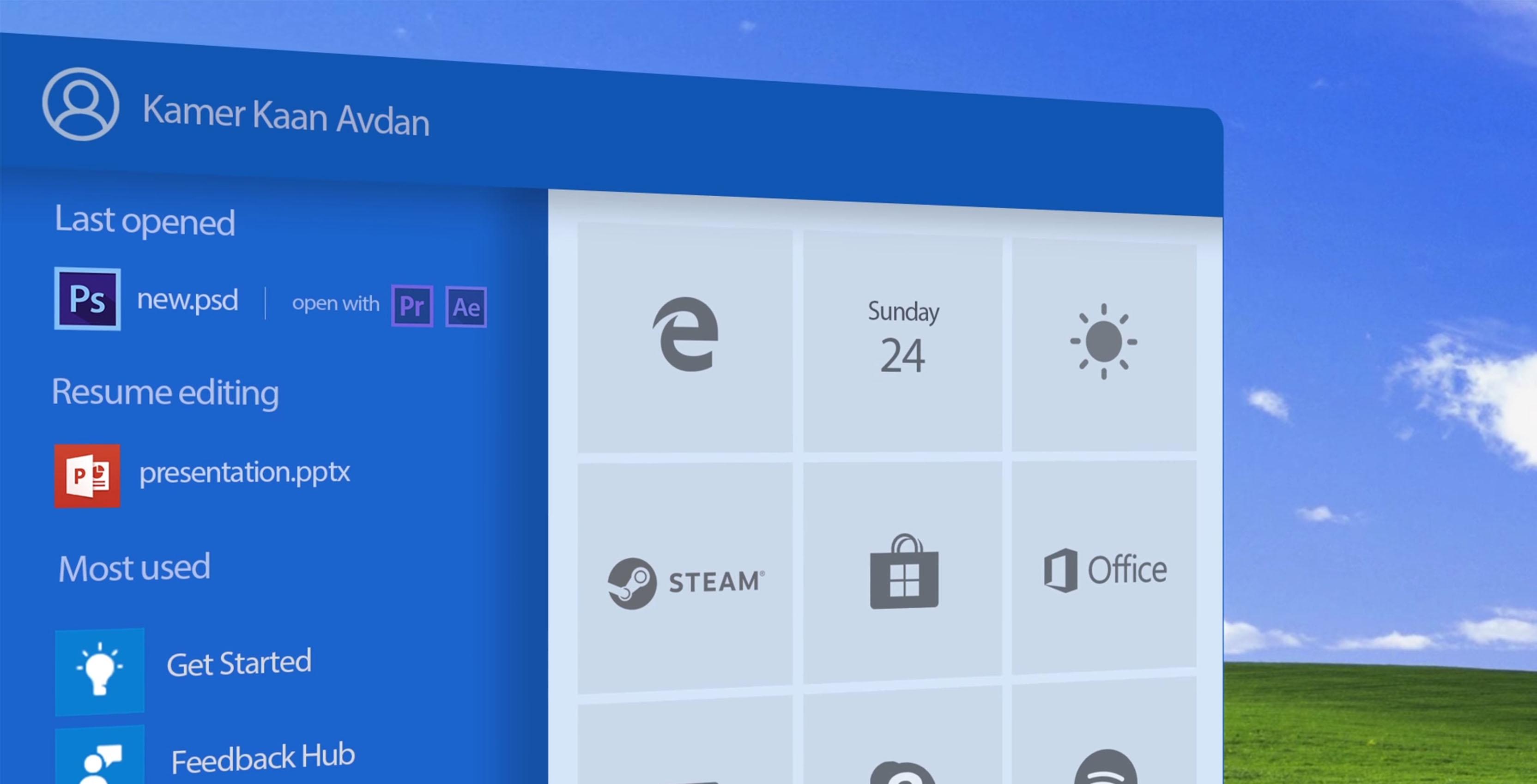 Windows XP concept design