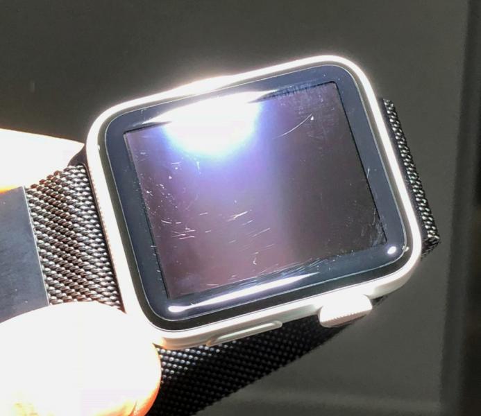 Dean Lubaki's scratched Apple Watch