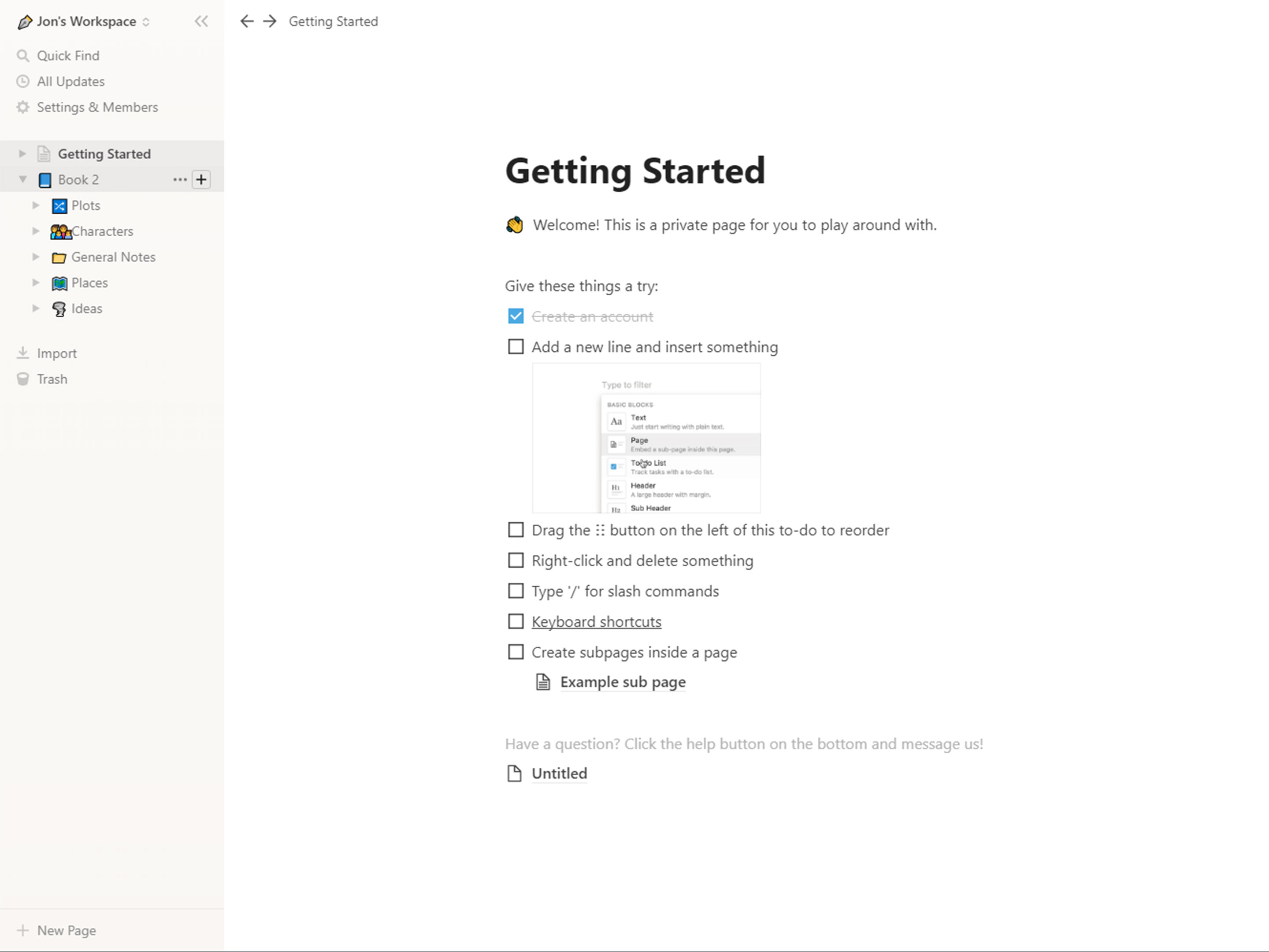 Getting Started page on Notion